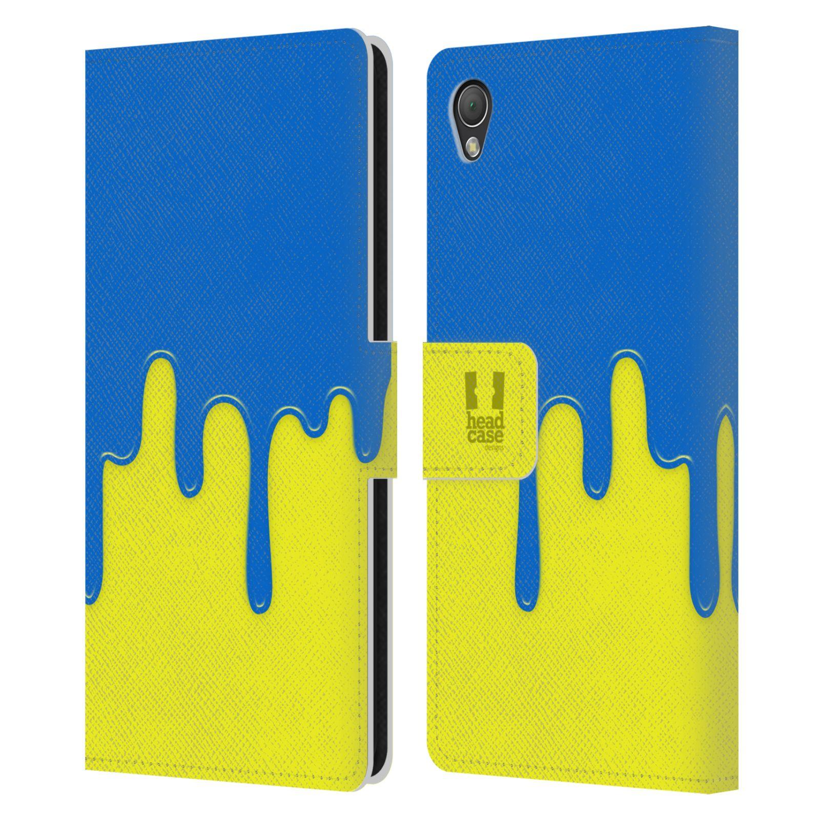HEAD CASE Flipové pouzdro pro mobil SONY XPERIA Z3 Rozlitá barva modrá a žlutá