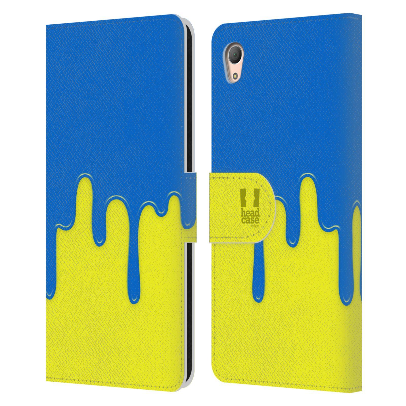 HEAD CASE Flipové pouzdro pro mobil SONY XPERIA Z3+ (PLUS) Rozlitá barva modrá a žlutá
