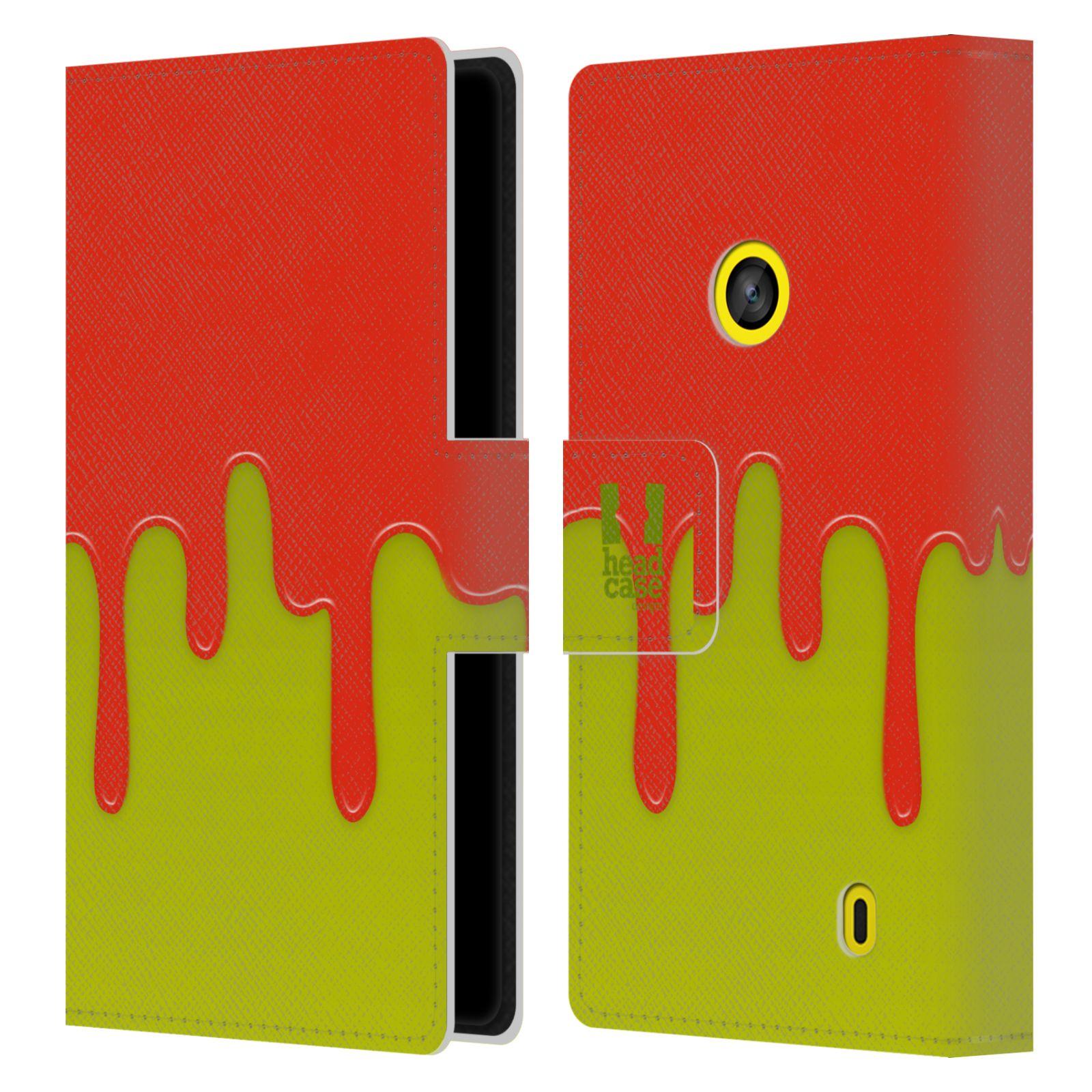 HEAD CASE Flipové pouzdro pro mobil NOKIA LUMIA 520 / 525 Rozlitá barva oranžová a zelená