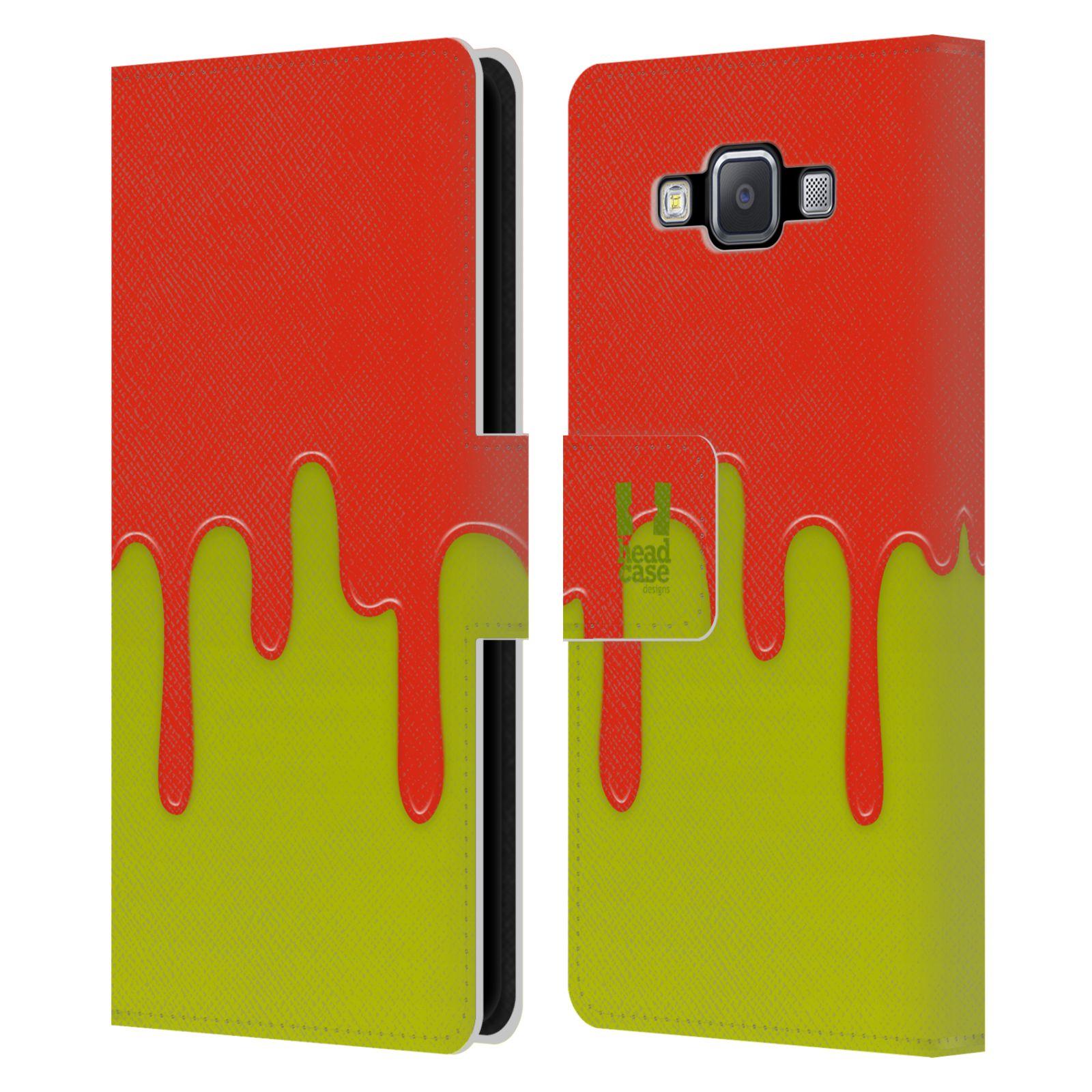 HEAD CASE Flipové pouzdro pro mobil Samsung Galaxy A5 Rozlitá barva oranžová a zelená