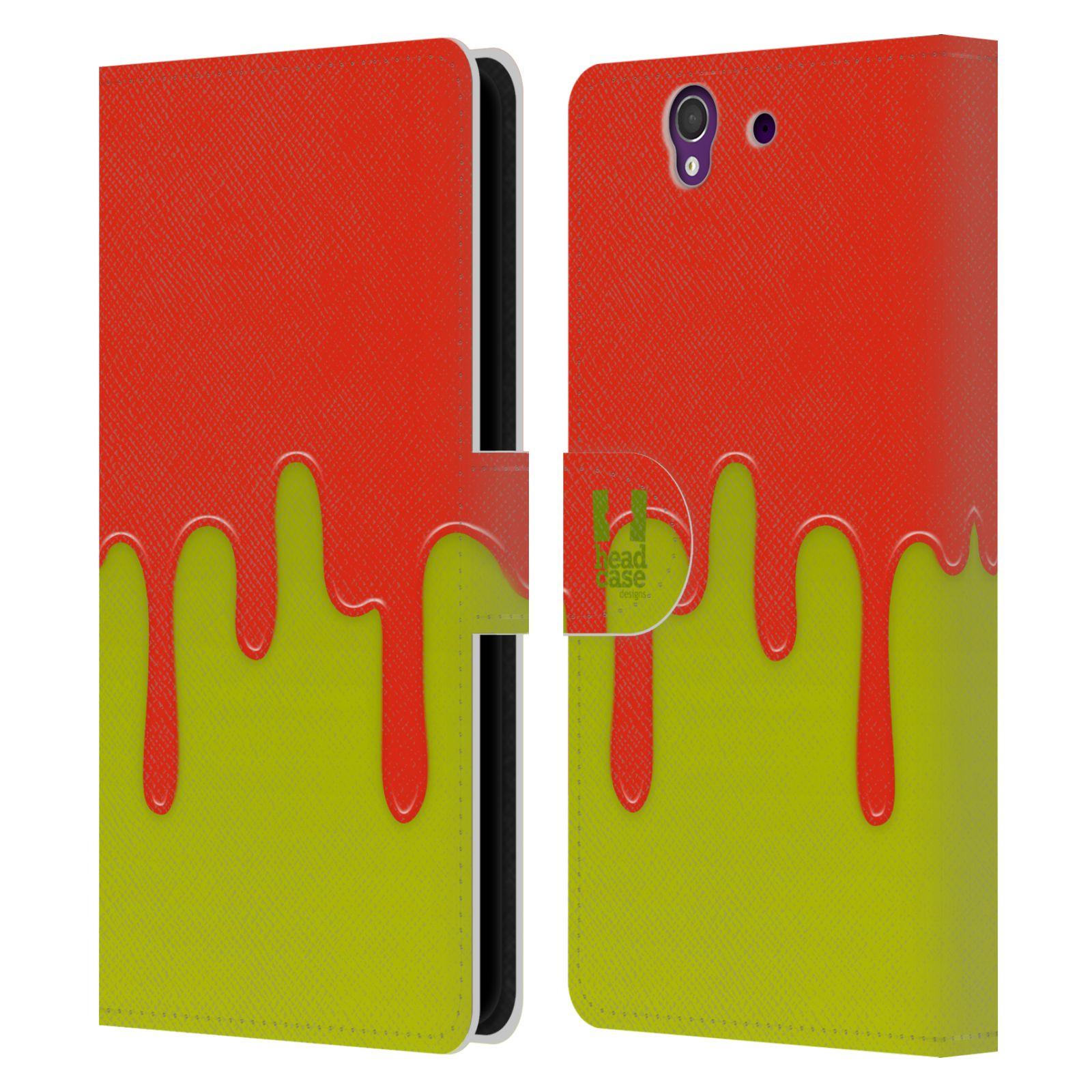 HEAD CASE Flipové pouzdro pro mobil SONY XPERIA Z (C6603) Rozlitá barva oranžová a zelená