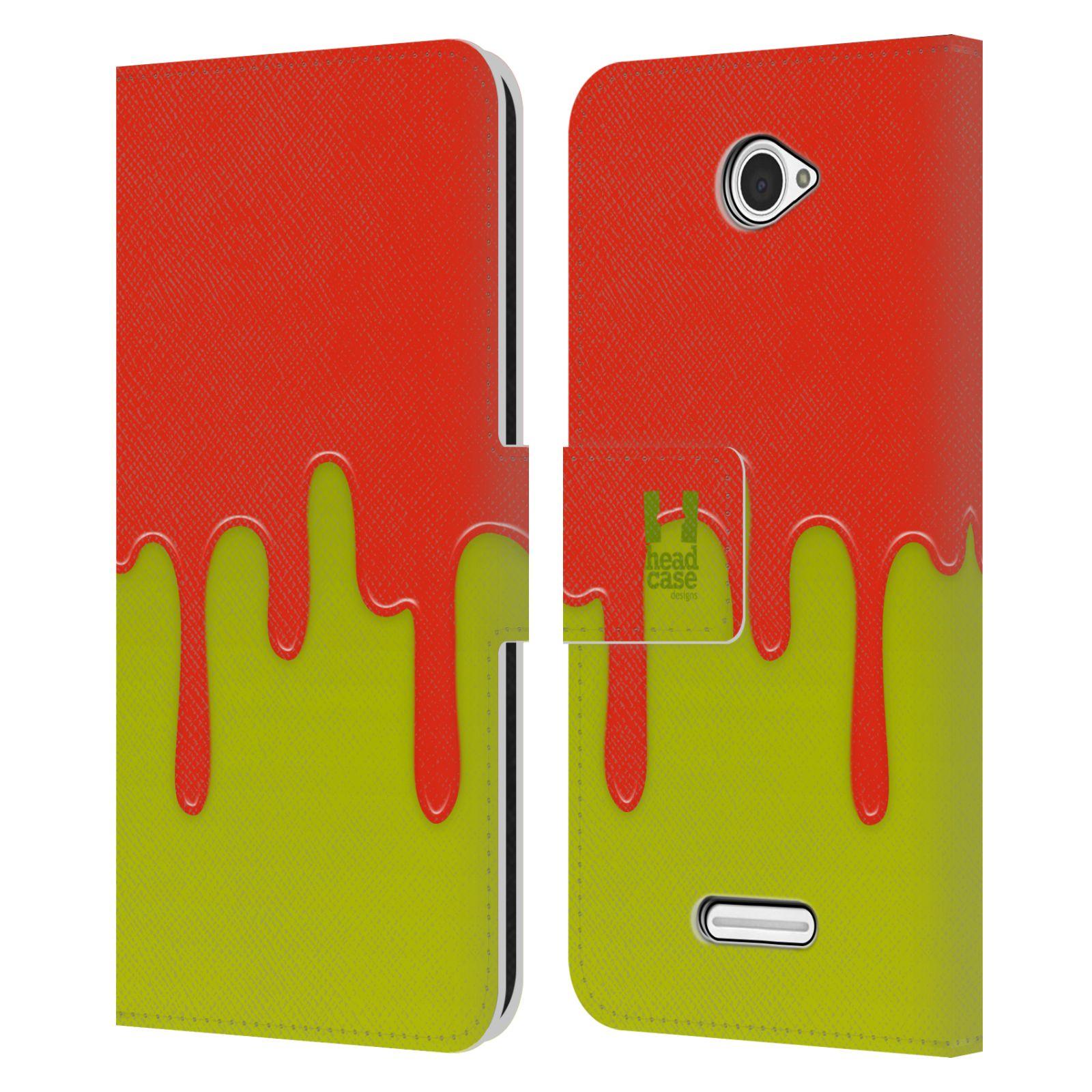 HEAD CASE Flipové pouzdro pro mobil SONY XPERIA E4 Rozlitá barva oranžová a zelená