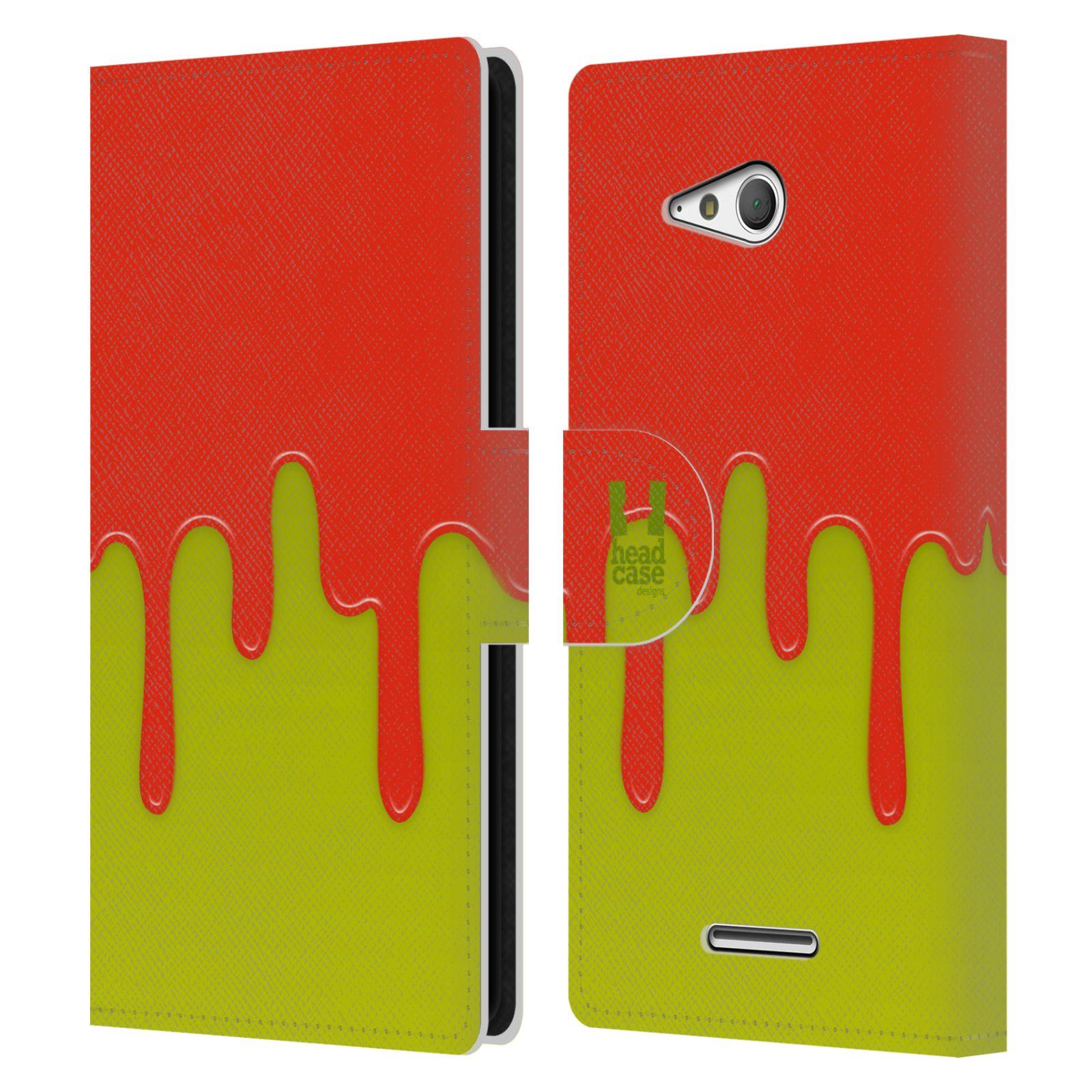 HEAD CASE Flipové pouzdro pro mobil SONY XPERIA E4g Rozlitá barva oranžová a zelená