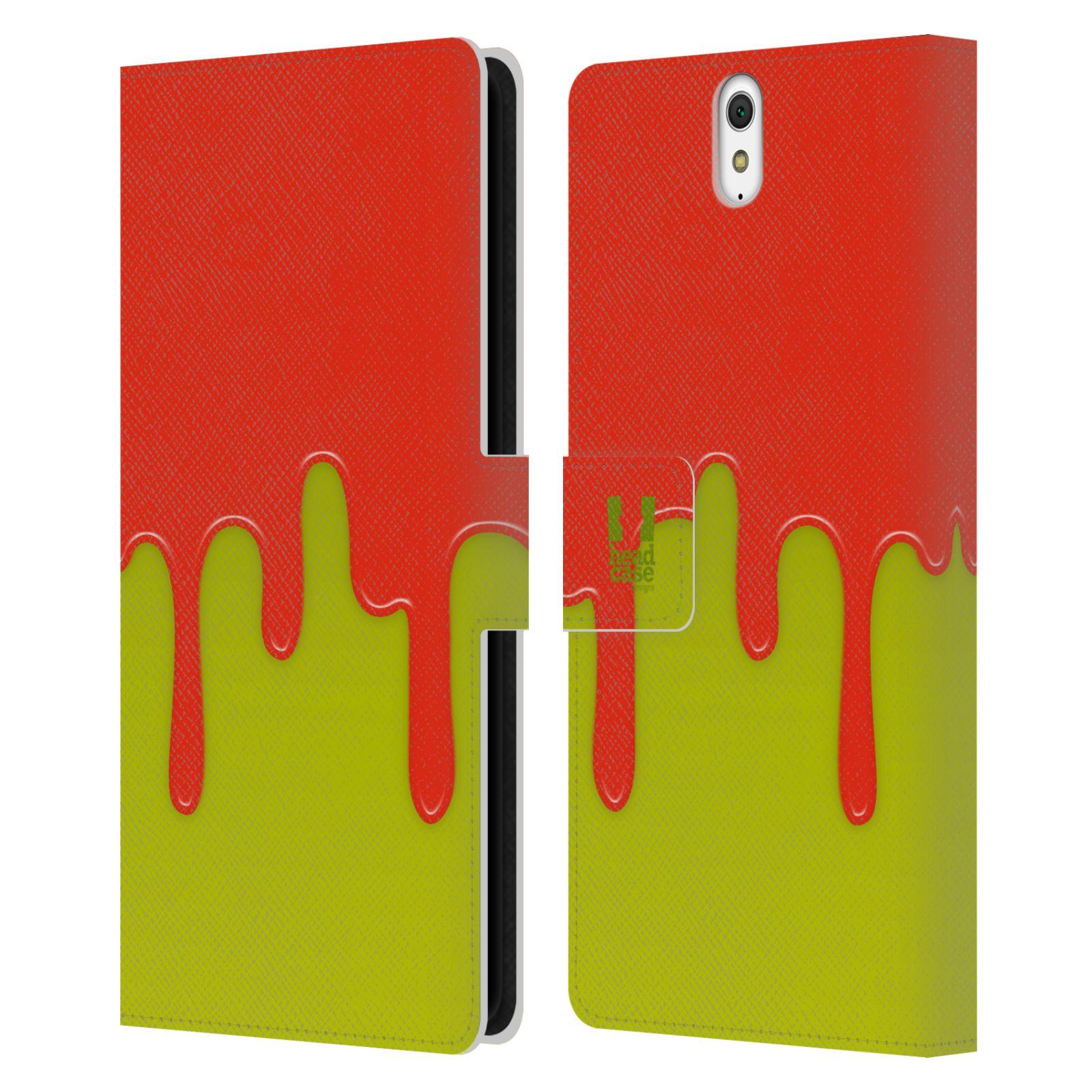 HEAD CASE Flipové pouzdro pro mobil SONY XPERIA C5 Ultra Rozlitá barva oranžová a zelená