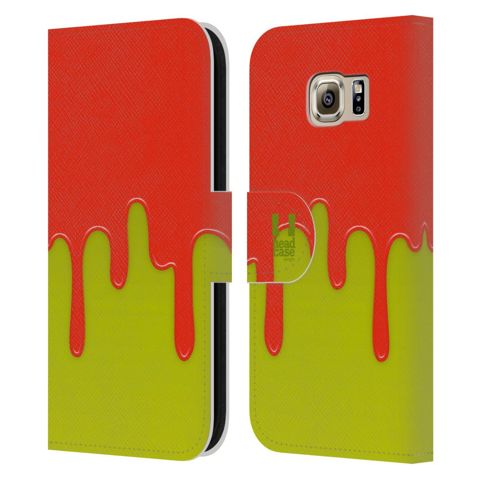 HEAD CASE Flipové pouzdro pro mobil Samsung Galaxy S6 (G9200) Rozlitá barva oranžová a zelená