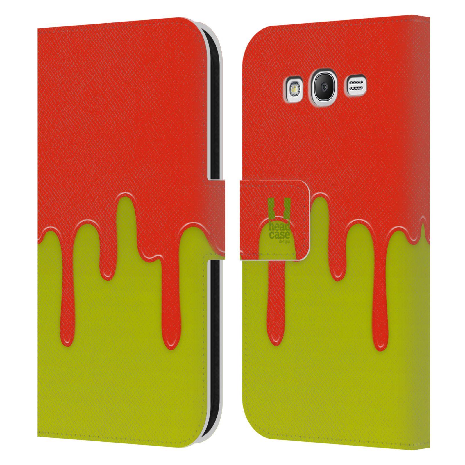 HEAD CASE Flipové pouzdro pro mobil Samsung Galaxy Grand i9080 Rozlitá barva oranžová a zelená