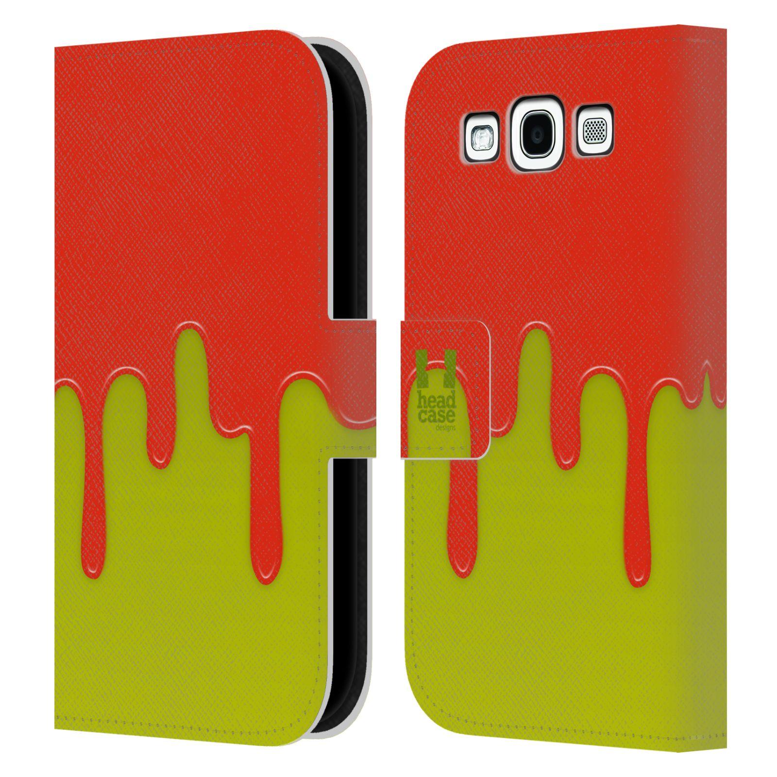 HEAD CASE Flipové pouzdro pro mobil Samsung Galaxy S3 Rozlitá barva oranžová a zelená