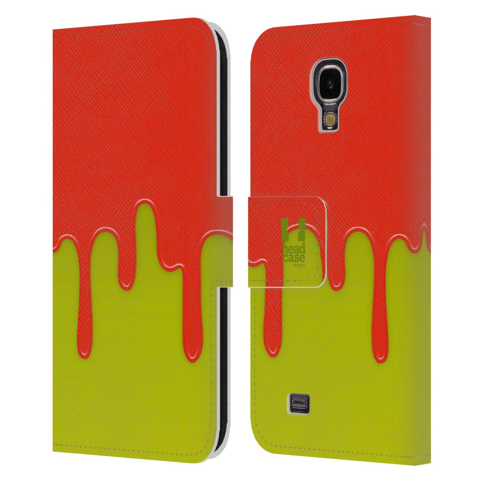 HEAD CASE Flipové pouzdro pro mobil Samsung Galaxy S4 Rozlitá barva oranžová a zelená