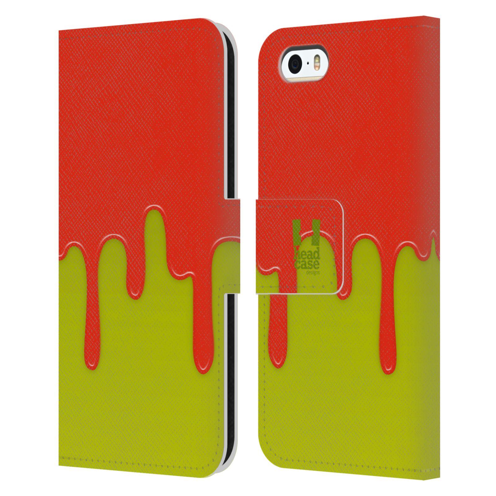 HEAD CASE Flipové pouzdro pro mobil Apple Iphone 5/5s Rozlitá barva oranžová a zelená