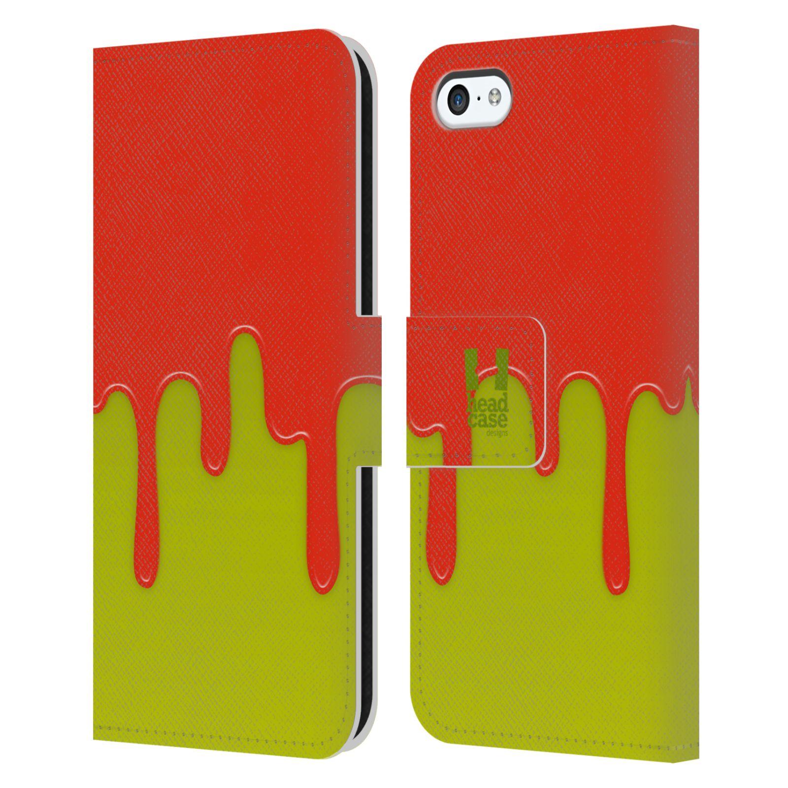 HEAD CASE Flipové pouzdro pro mobil Apple Iphone 5C Rozlitá barva oranžová a zelená