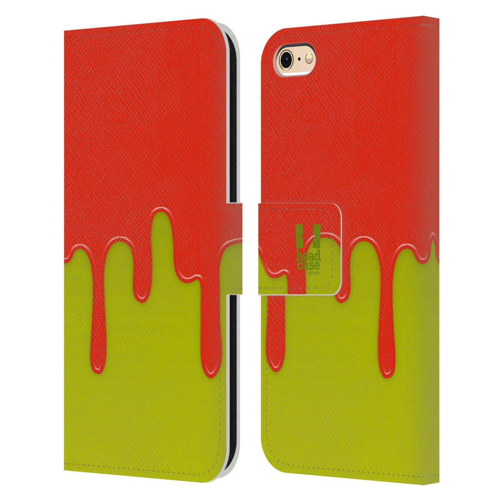 HEAD CASE Flipové pouzdro pro mobil Apple Iphone 6/6s Rozlitá barva oranžová a zelená