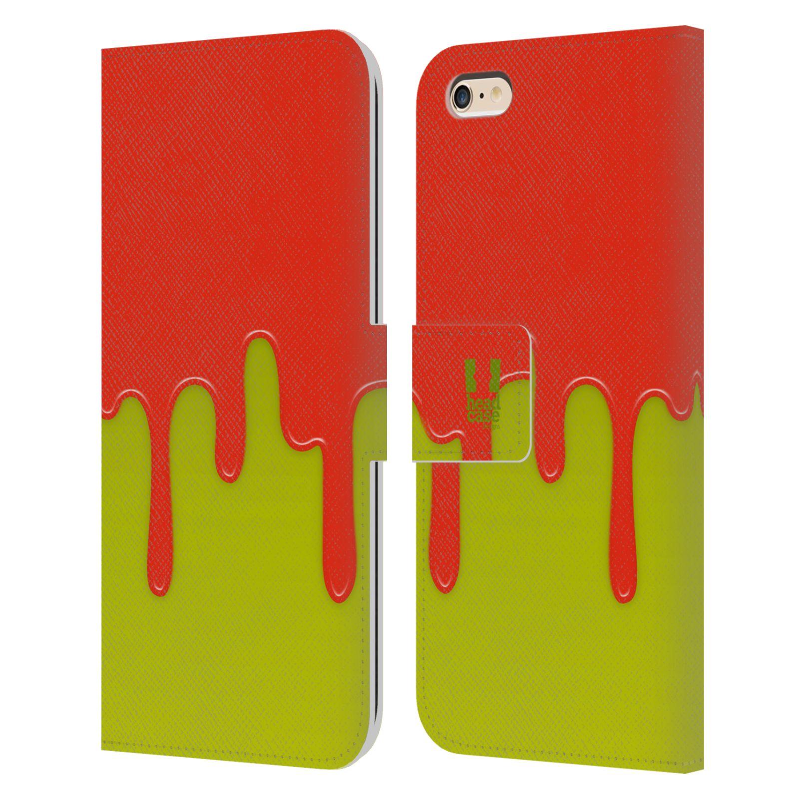 HEAD CASE Flipové pouzdro pro mobil Apple Iphone 6 PLUS / 6S PLUS Rozlitá barva oranžová a zelená