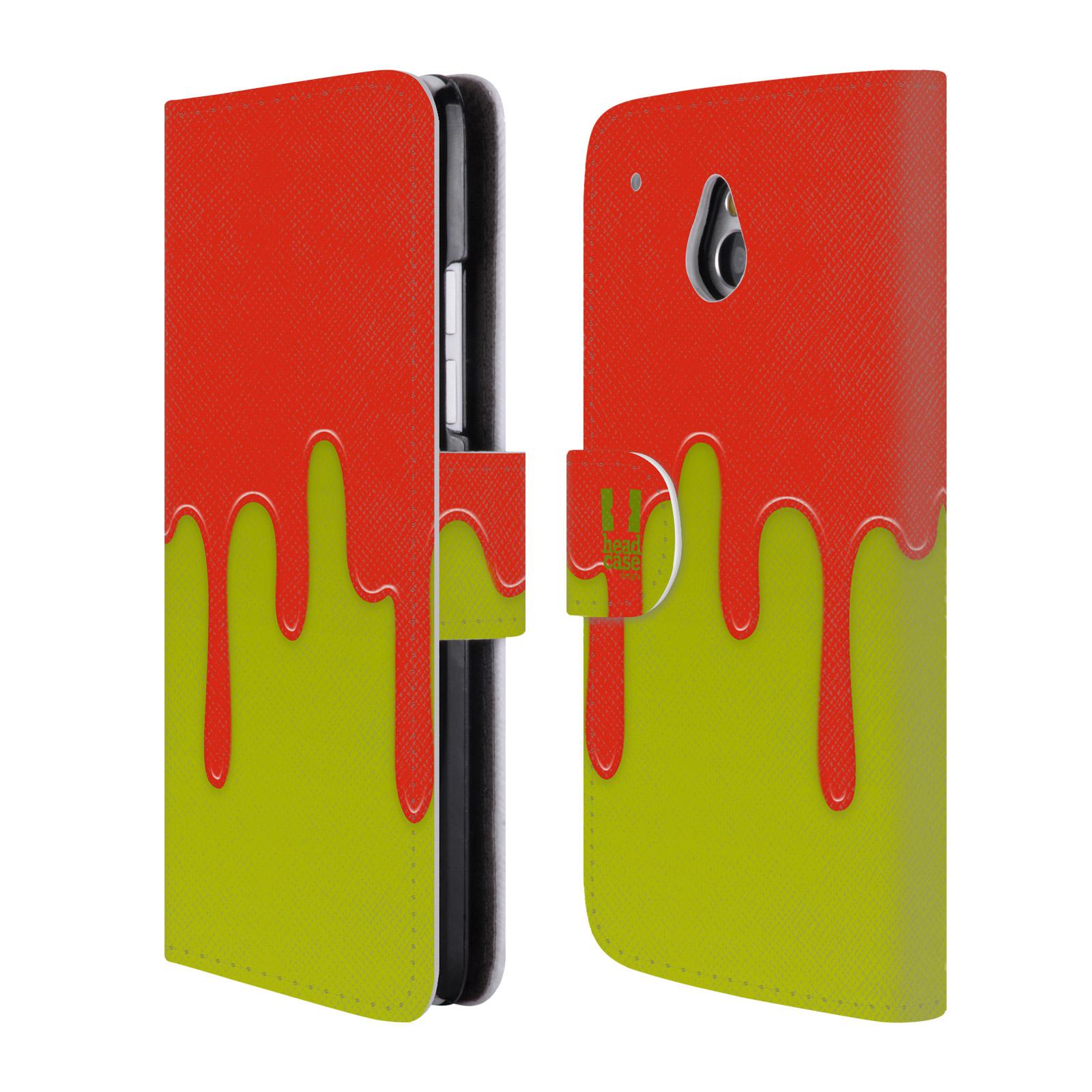 HEAD CASE Flipové pouzdro pro mobil HTC ONE MINI (M4) Rozlitá barva oranžová a zelená