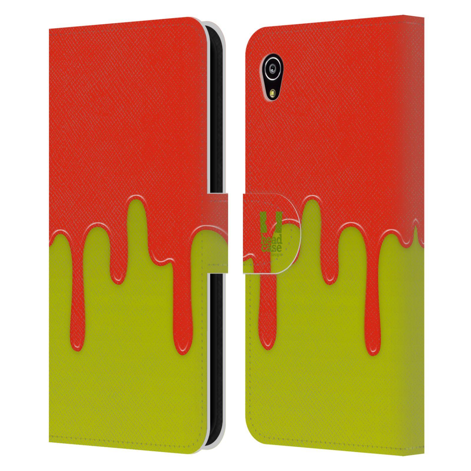 HEAD CASE Flipové pouzdro pro mobil SONY XPERIA M4 AQUA Rozlitá barva oranžová a zelená