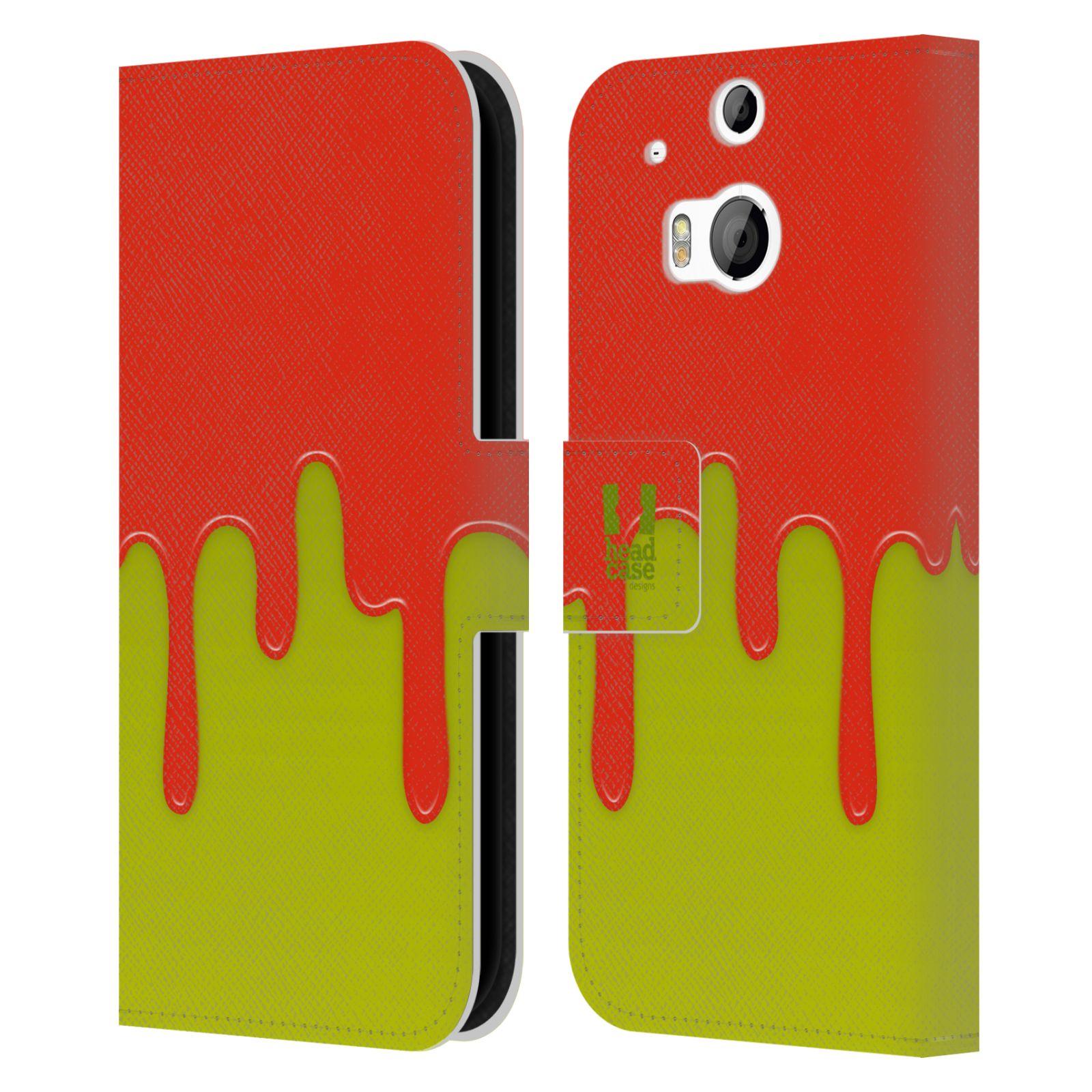 HEAD CASE Flipové pouzdro pro mobil HTC ONE (M8, M8s) Rozlitá barva oranžová a zelená