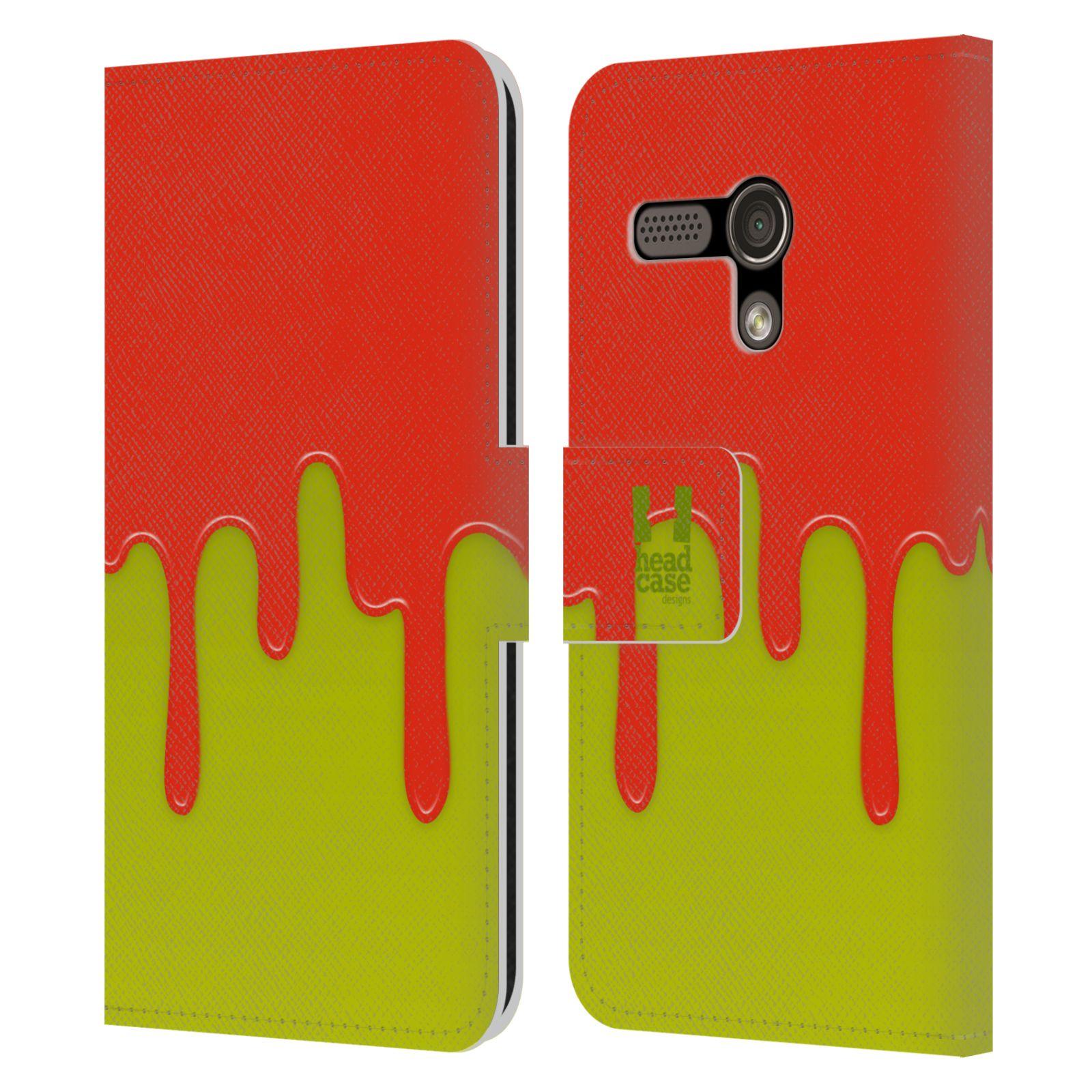 HEAD CASE Flipové pouzdro pro mobil MOTOROLA MOTO G Rozlitá barva oranžová a zelená