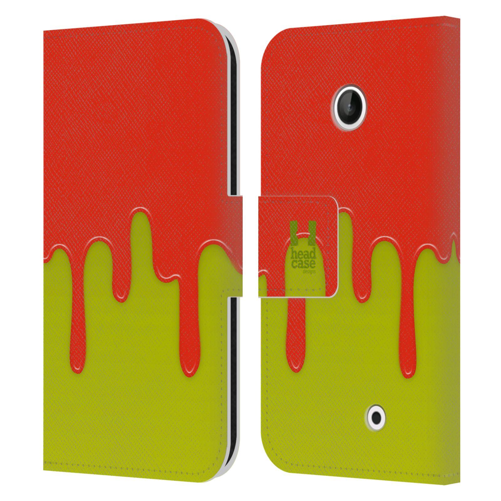 HEAD CASE Flipové pouzdro pro mobil NOKIA LUMIA 630 / LUMIA 630 DUAL Rozlitá barva oranžová a zelená