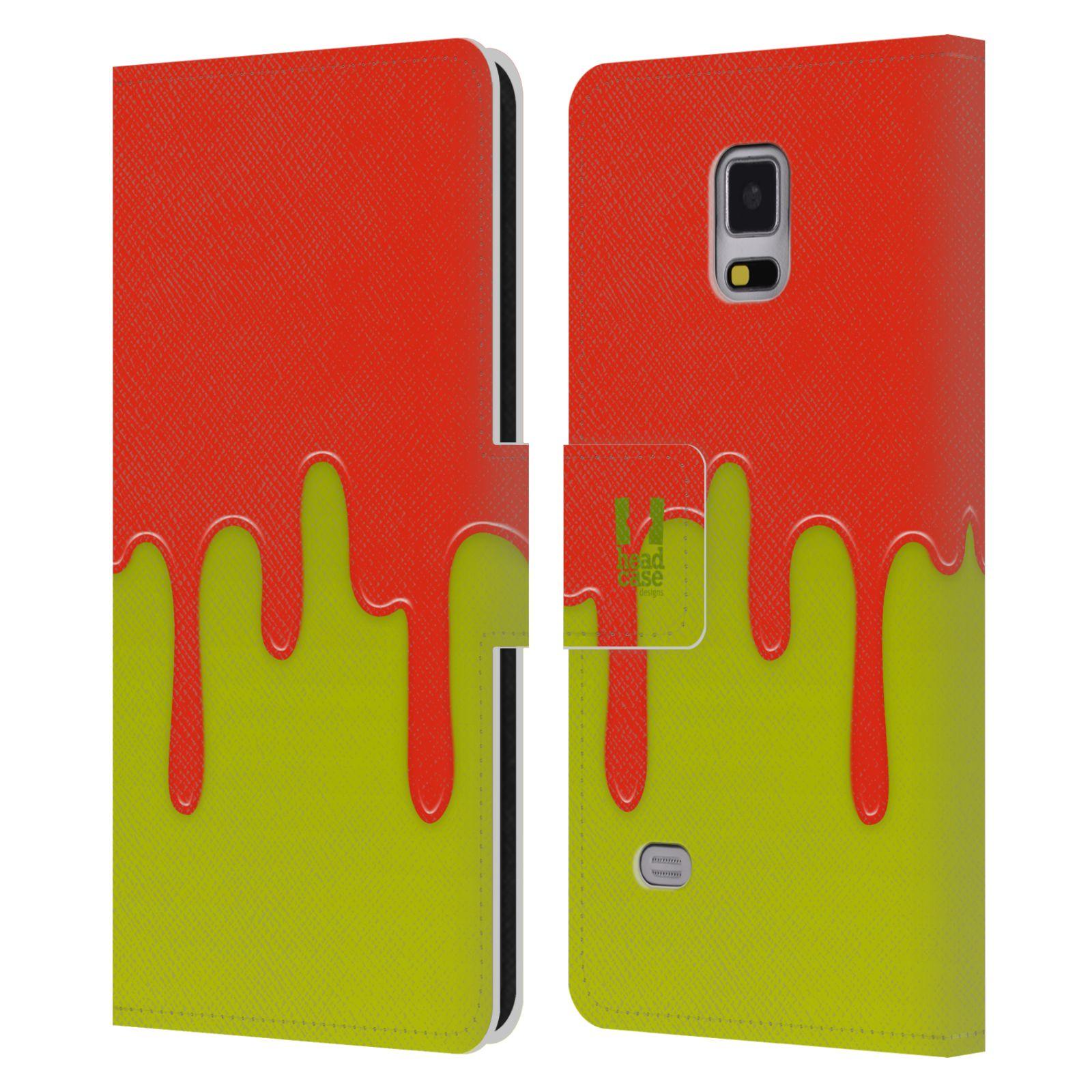 HEAD CASE Flipové pouzdro pro mobil Samsung Galaxy Note 4 Rozlitá barva oranžová a zelená