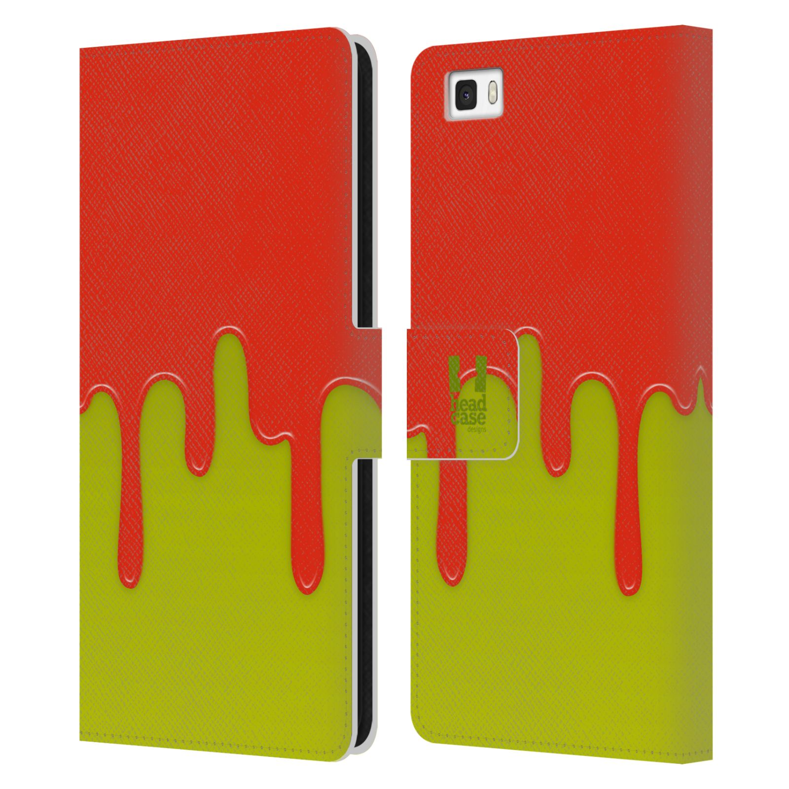 HEAD CASE Flipové pouzdro pro mobil Huawei P8 LITE Rozlitá barva oranžová a zelená