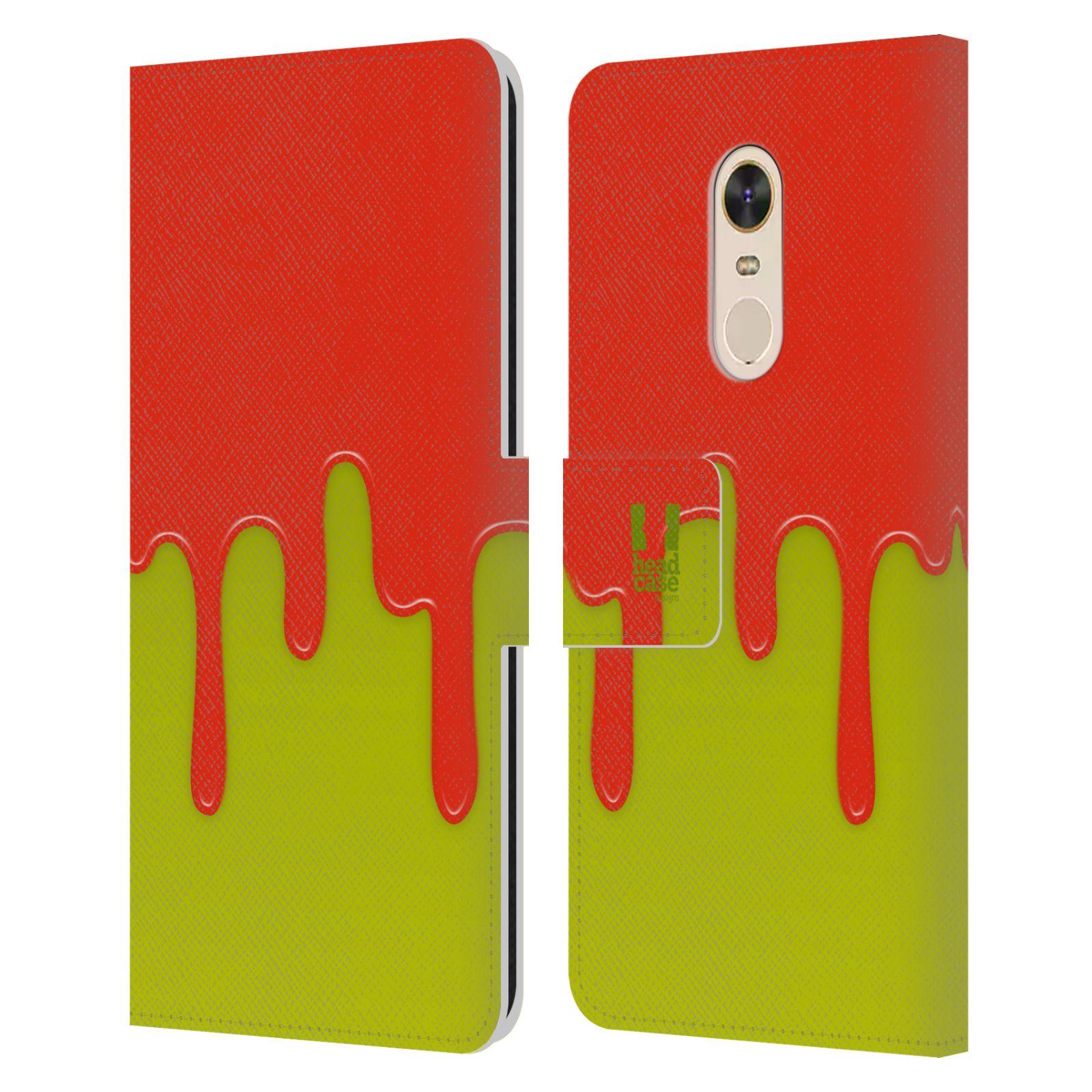 HEAD CASE Flipové pouzdro pro mobil Xiaomi Redmi 5 PLUS Rozlitá barva oranžová a zelená
