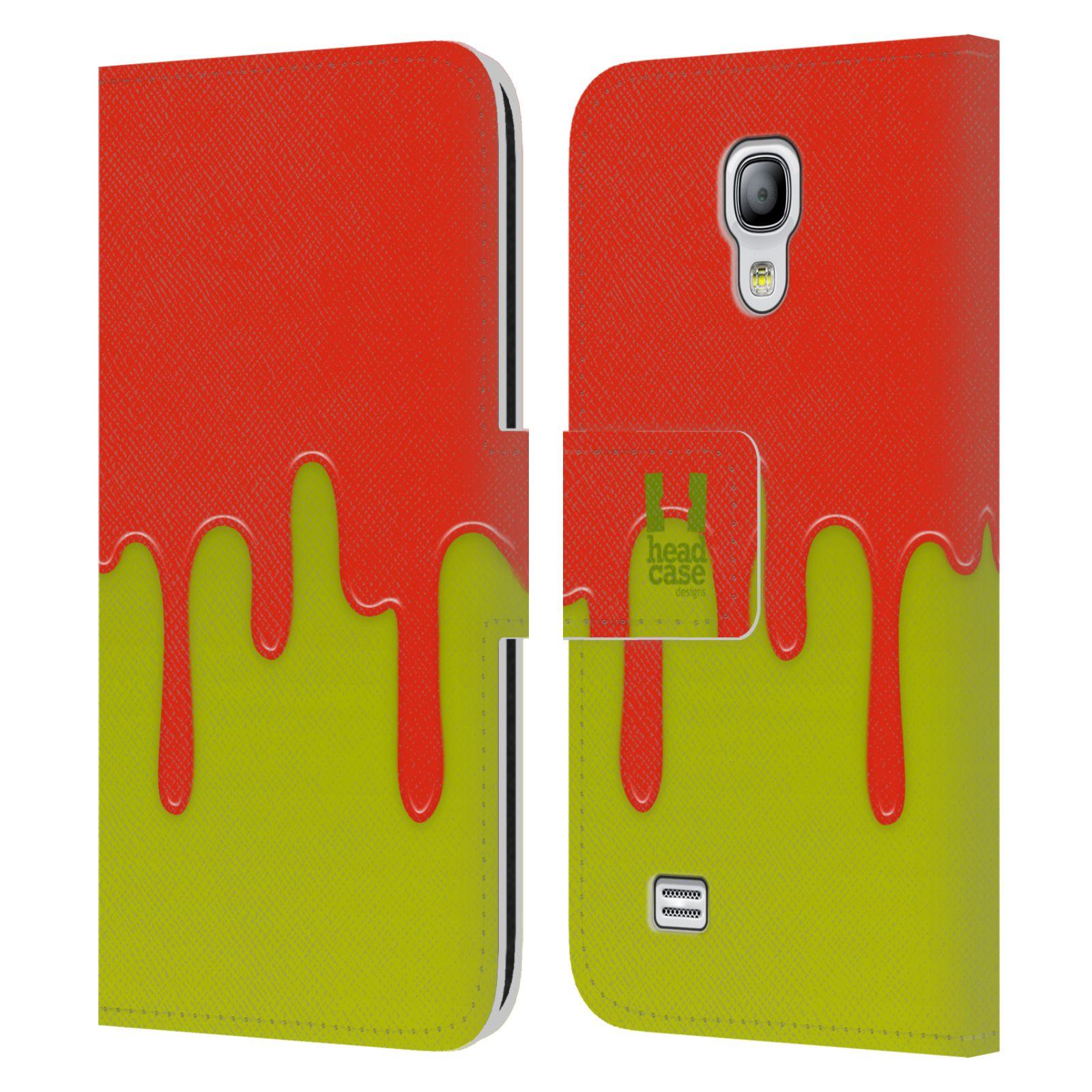 HEAD CASE Flipové pouzdro pro mobil Samsung Galaxy S4 MINI / S4 MINI DUOS Rozlitá barva oranžová a zelená