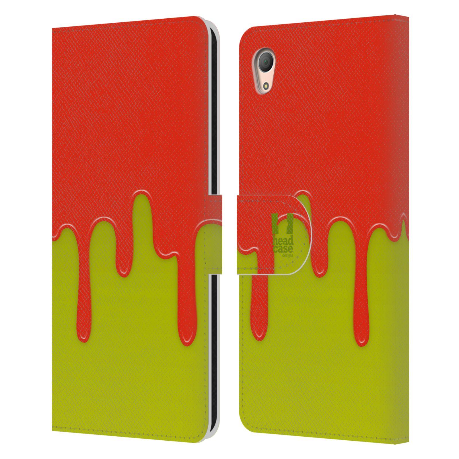 HEAD CASE Flipové pouzdro pro mobil SONY XPERIA Z3+ (PLUS) Rozlitá barva oranžová a zelená