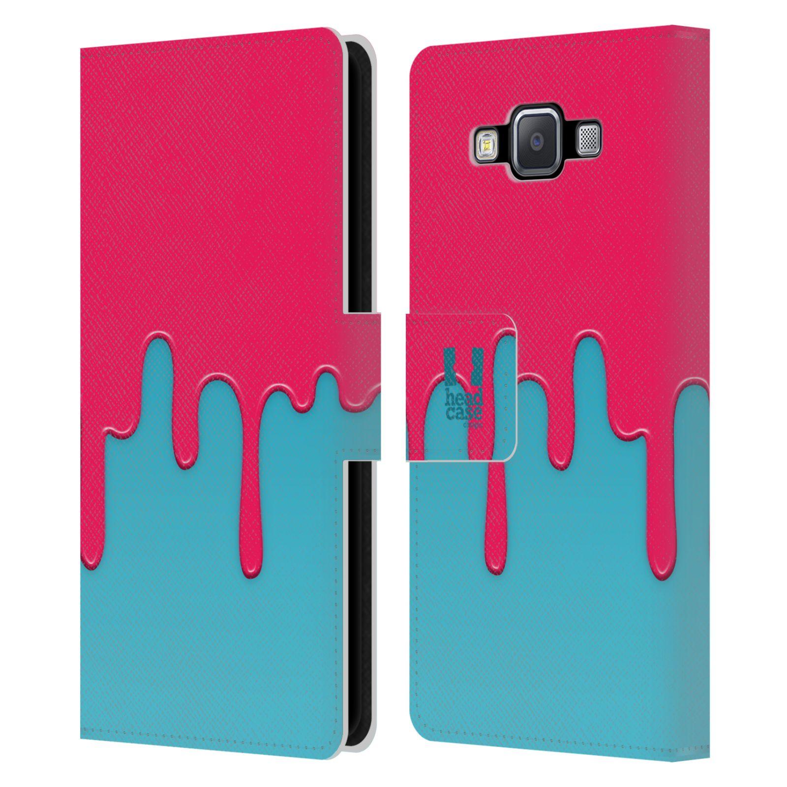 HEAD CASE Flipové pouzdro pro mobil Samsung Galaxy A5 Rozlitá barva růžová a modrá