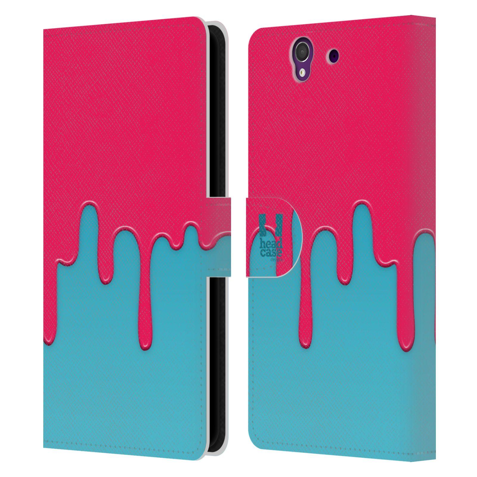 HEAD CASE Flipové pouzdro pro mobil SONY XPERIA Z (C6603) Rozlitá barva růžová a modrá