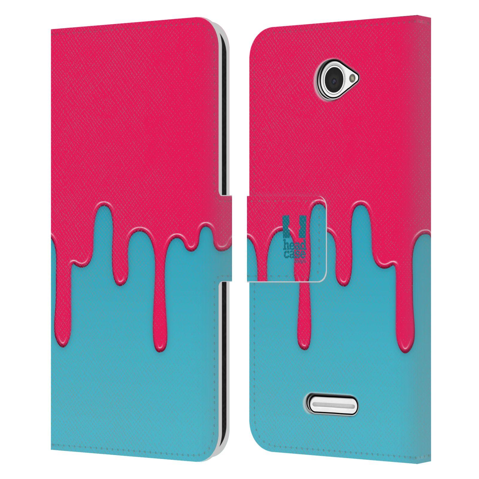 HEAD CASE Flipové pouzdro pro mobil SONY XPERIA E4 Rozlitá barva růžová a modrá