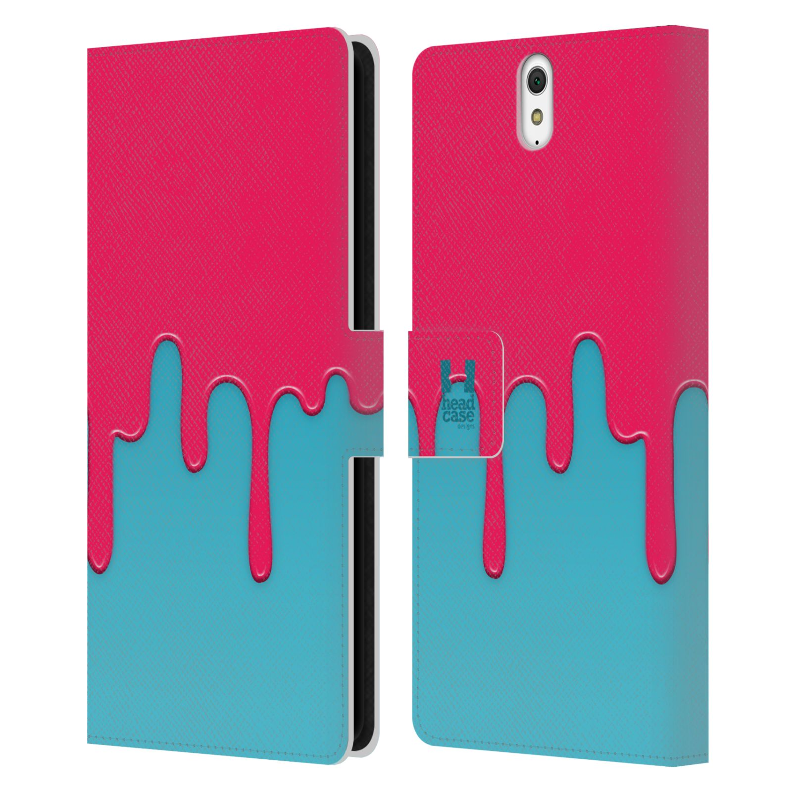 HEAD CASE Flipové pouzdro pro mobil SONY XPERIA C5 Ultra Rozlitá barva růžová a modrá