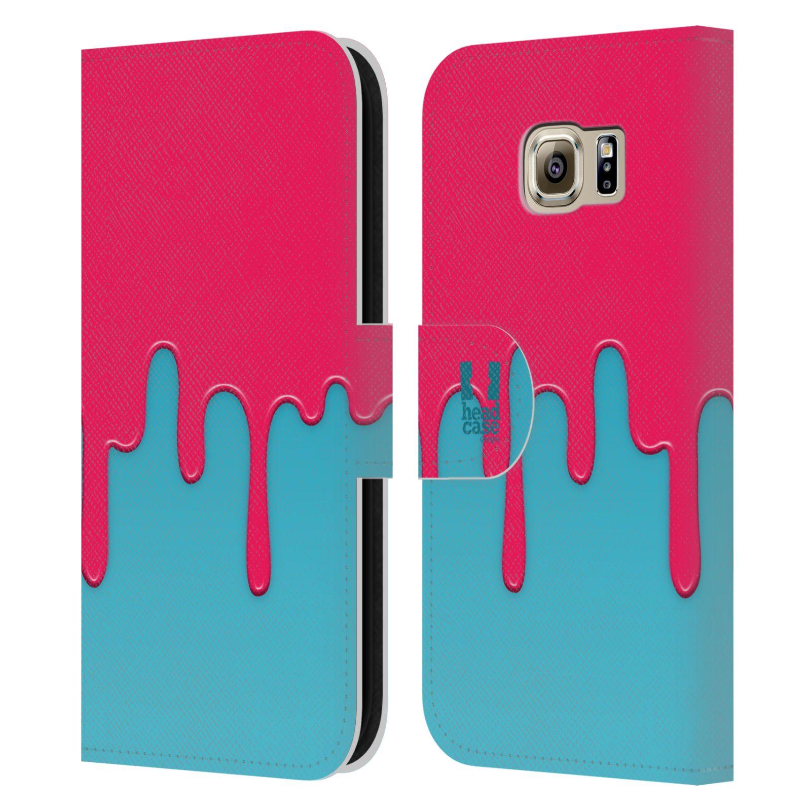 HEAD CASE Flipové pouzdro pro mobil Samsung Galaxy S6 (G9200) Rozlitá barva růžová a modrá