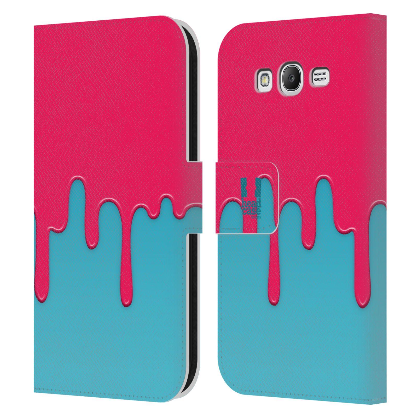 HEAD CASE Flipové pouzdro pro mobil Samsung Galaxy Grand i9080 Rozlitá barva růžová a modrá