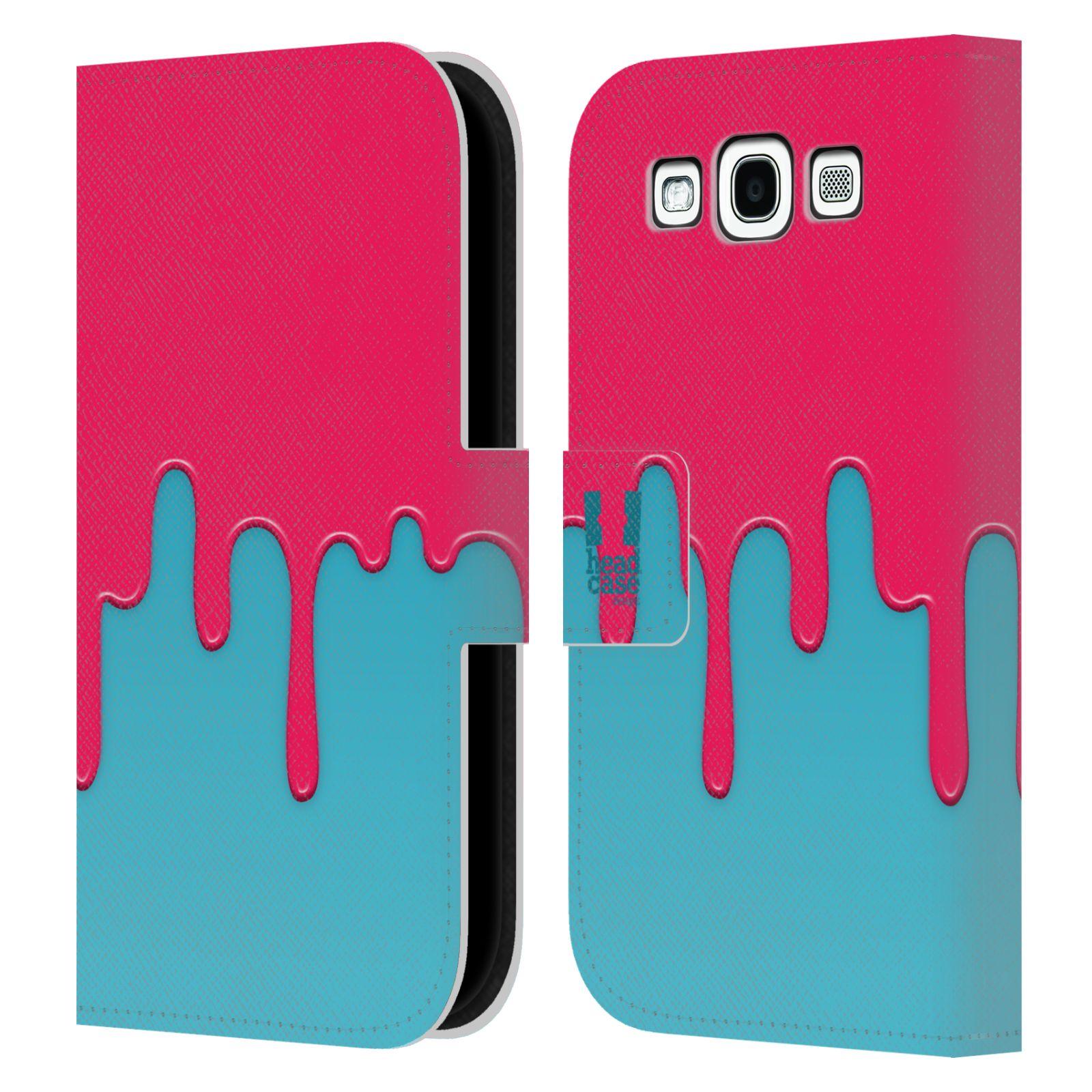 HEAD CASE Flipové pouzdro pro mobil Samsung Galaxy S3 Rozlitá barva růžová a modrá