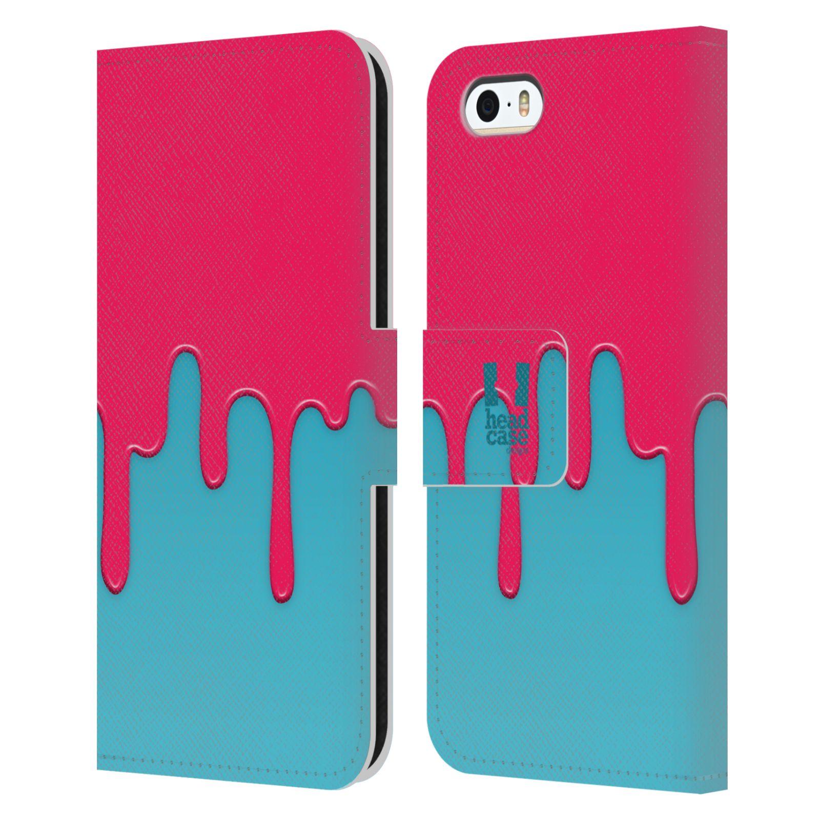 HEAD CASE Flipové pouzdro pro mobil Apple Iphone 5/5s Rozlitá barva růžová a modrá