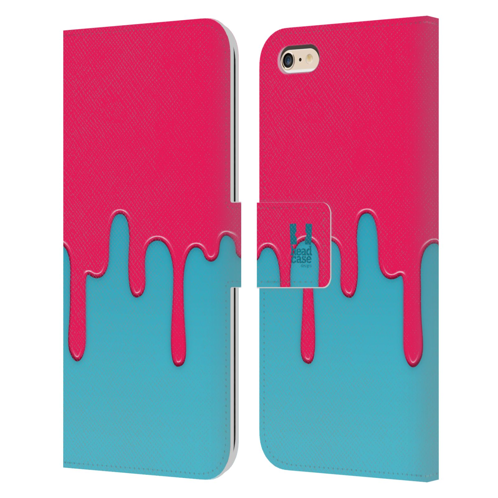 HEAD CASE Flipové pouzdro pro mobil Apple Iphone 6 PLUS / 6S PLUS Rozlitá barva růžová a modrá
