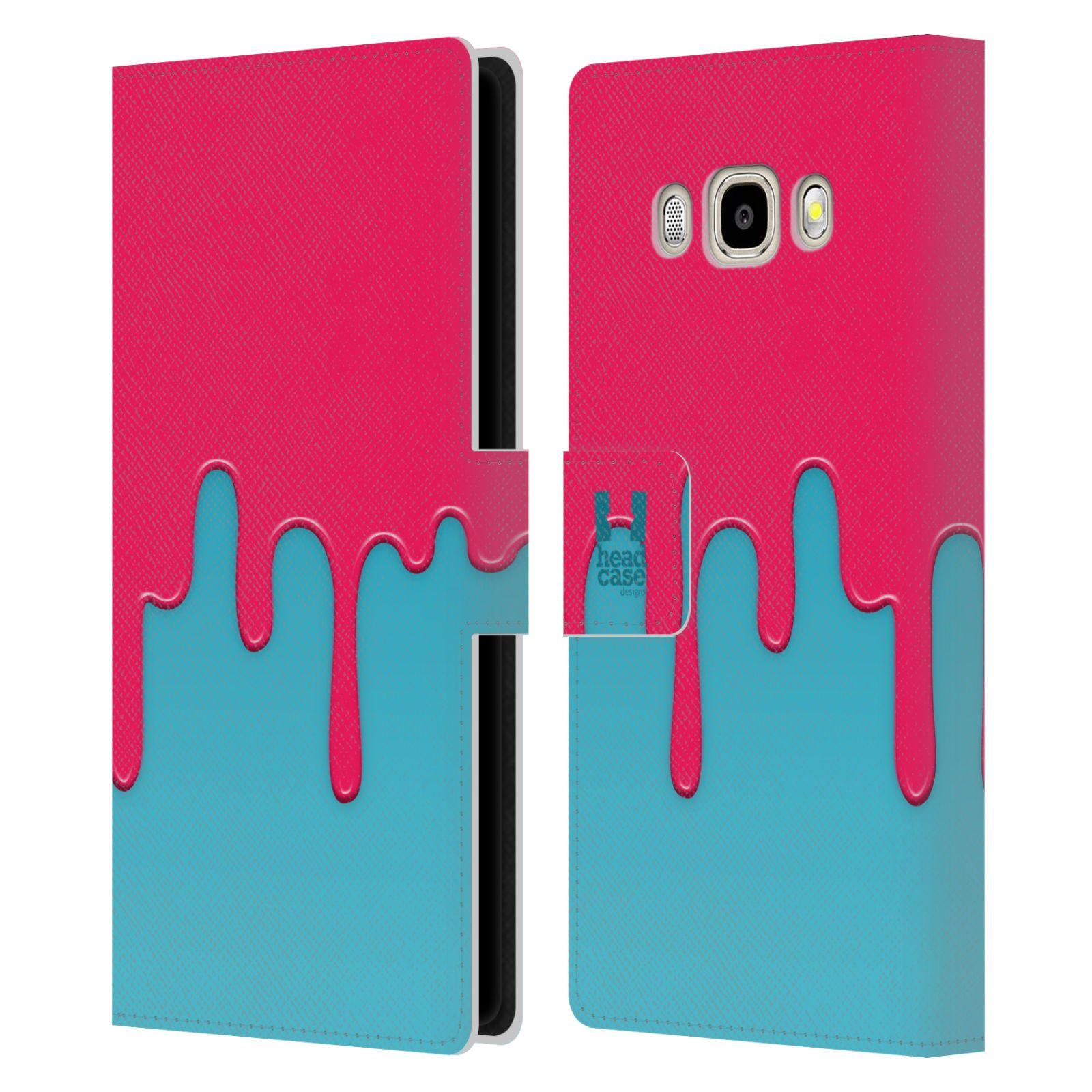 HEAD CASE Flipové pouzdro pro mobil Samsung Galaxy J5 2016 Rozlitá barva růžová a modrá