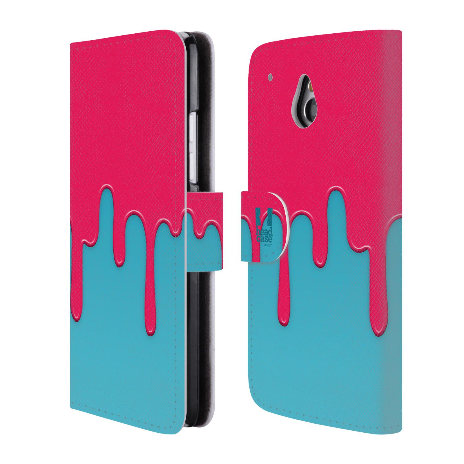 HEAD CASE Flipové pouzdro pro mobil HTC ONE MINI (M4) Rozlitá barva růžová a modrá