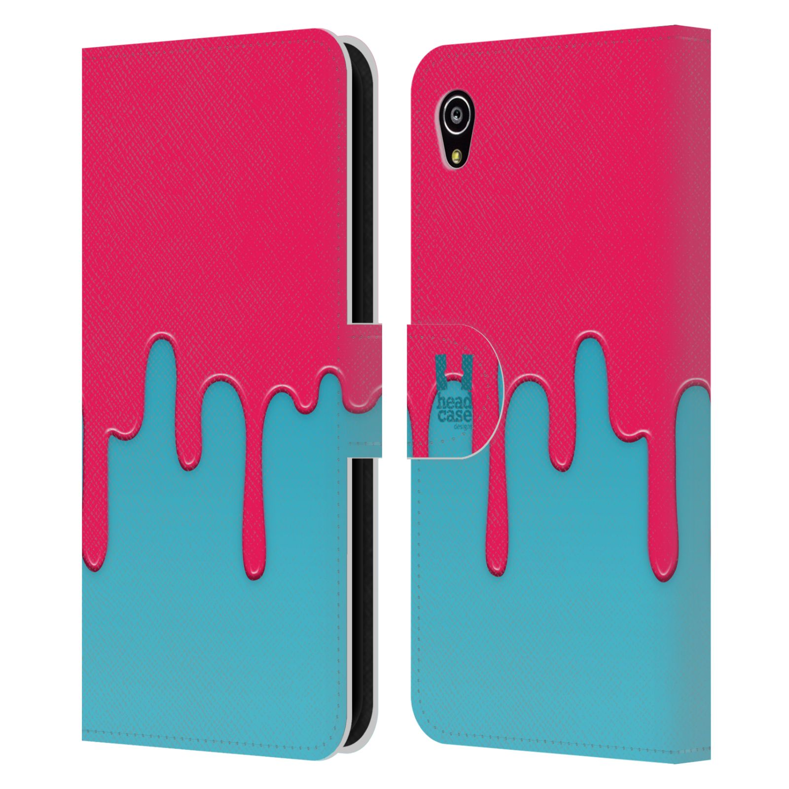 HEAD CASE Flipové pouzdro pro mobil SONY XPERIA M4 AQUA Rozlitá barva růžová a modrá