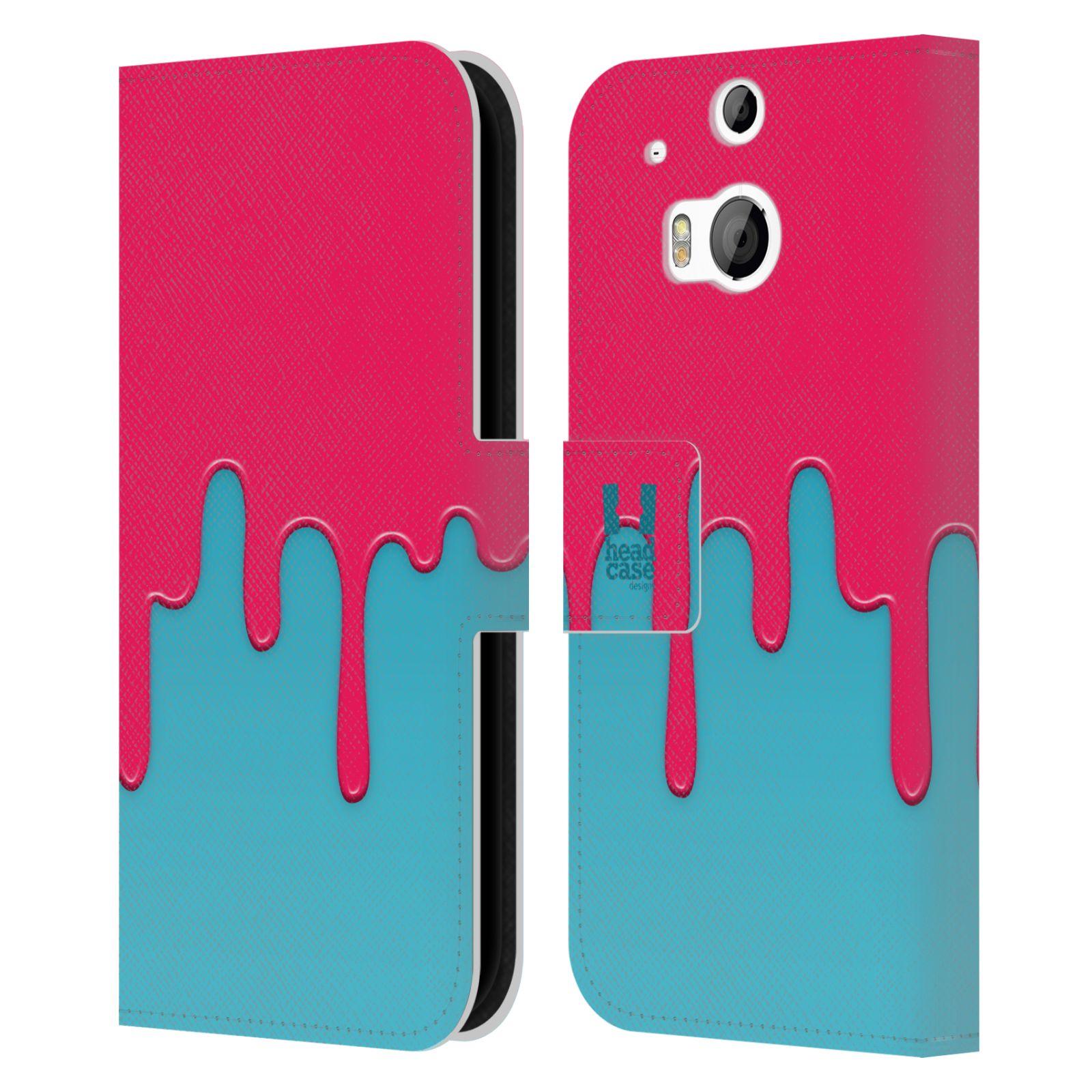 HEAD CASE Flipové pouzdro pro mobil HTC ONE (M8, M8s) Rozlitá barva růžová a modrá