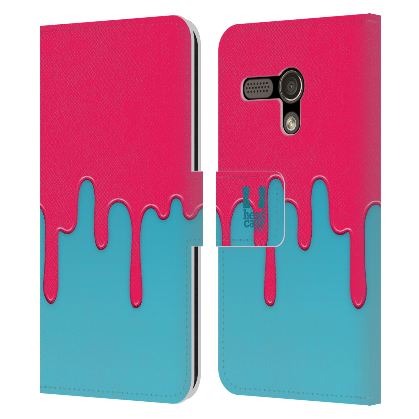 HEAD CASE Flipové pouzdro pro mobil MOTOROLA MOTO G Rozlitá barva růžová a modrá