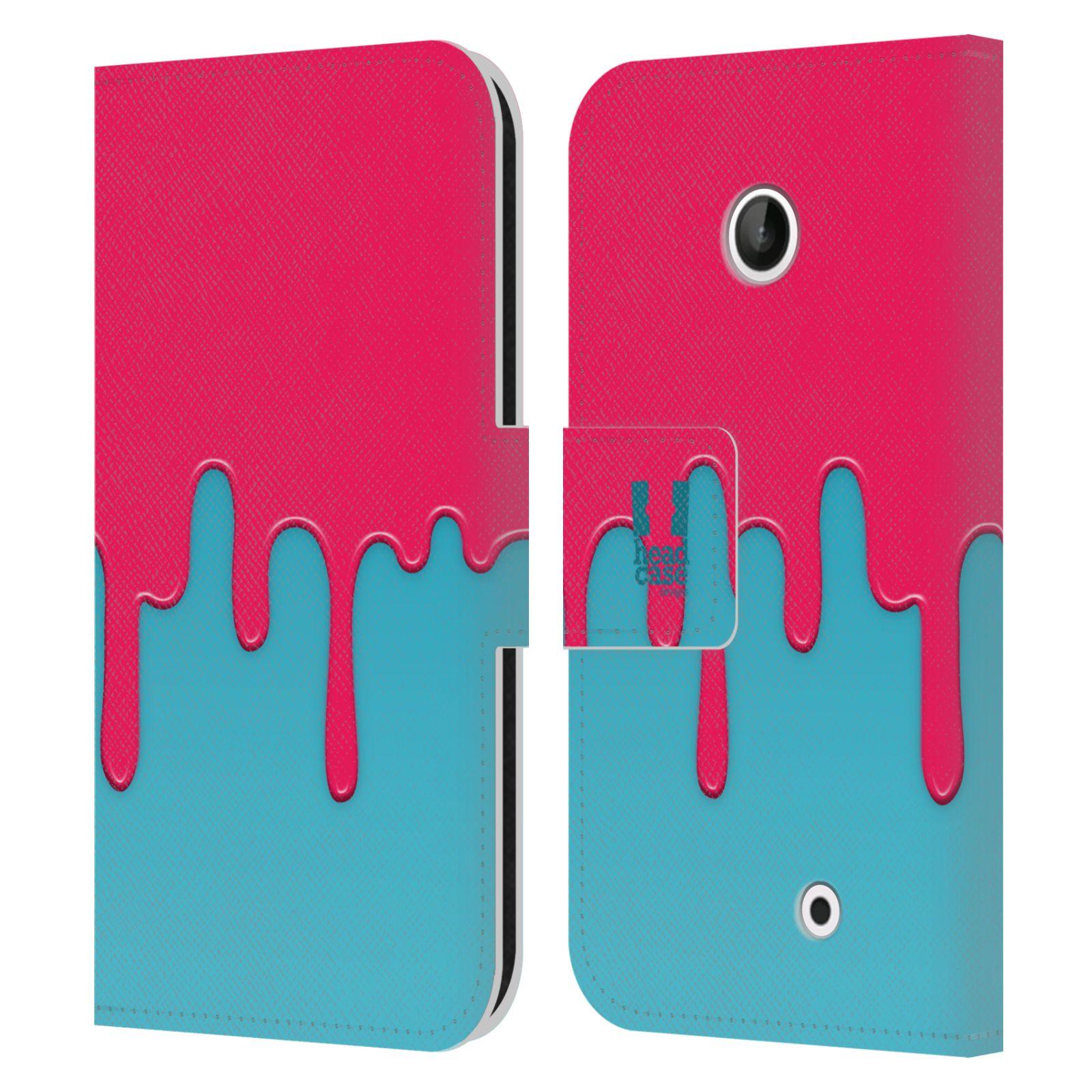 HEAD CASE Flipové pouzdro pro mobil NOKIA LUMIA 630 / LUMIA 630 DUAL Rozlitá barva růžová a modrá