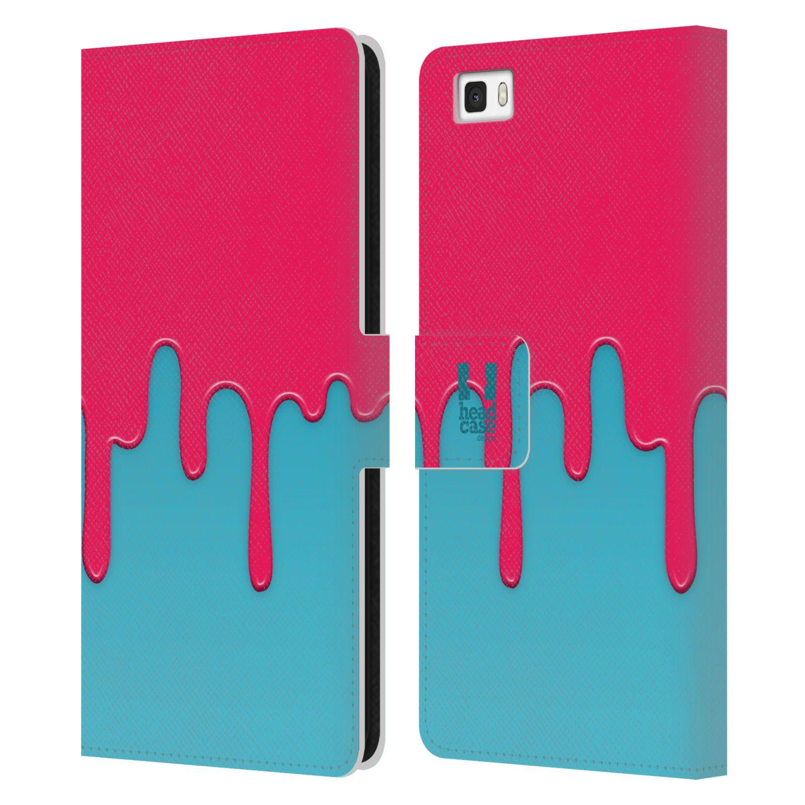 HEAD CASE Flipové pouzdro pro mobil Huawei P8 LITE Rozlitá barva růžová a modrá