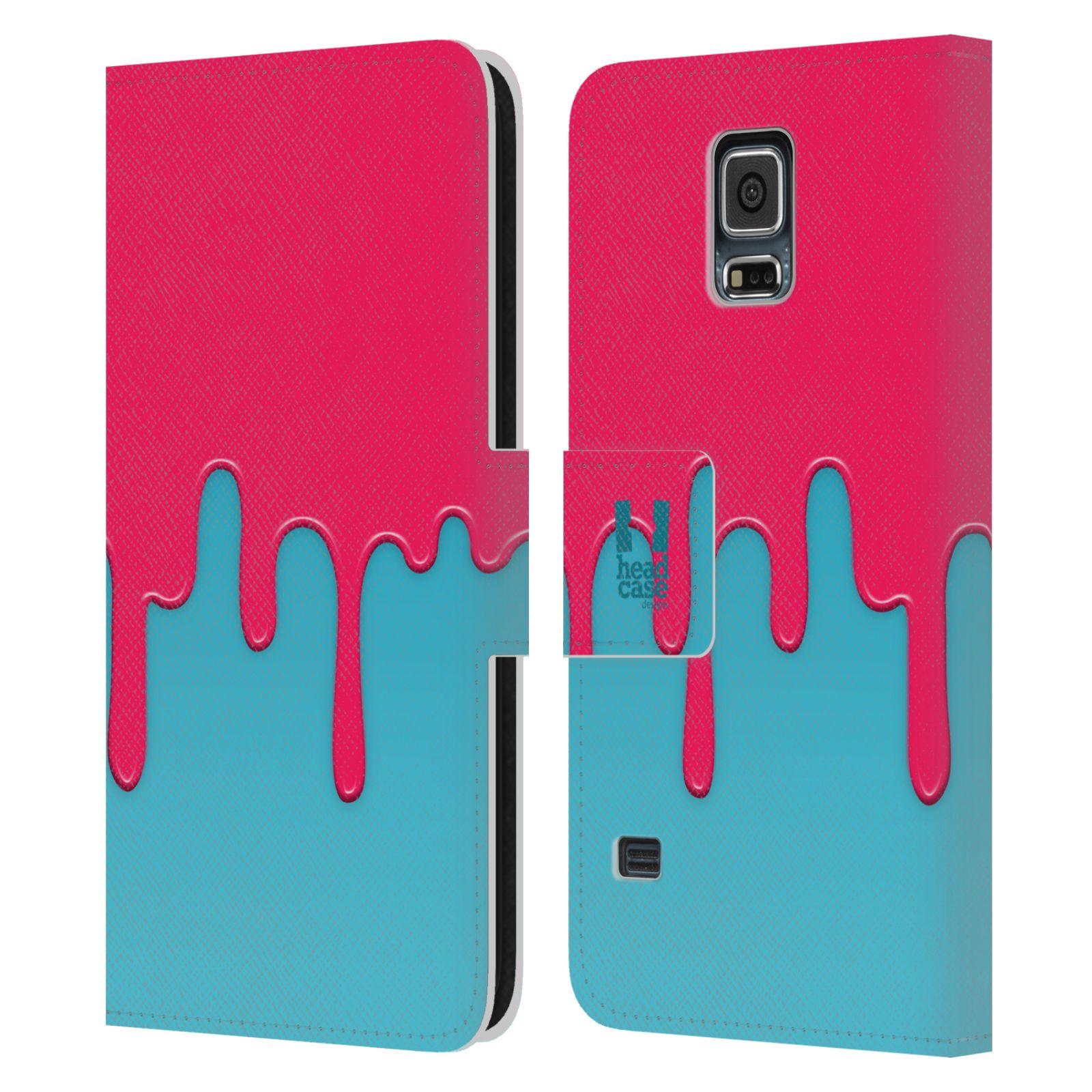 HEAD CASE Flipové pouzdro pro mobil Samsung Galaxy S5 / S5 NEO Rozlitá barva růžová a modrá