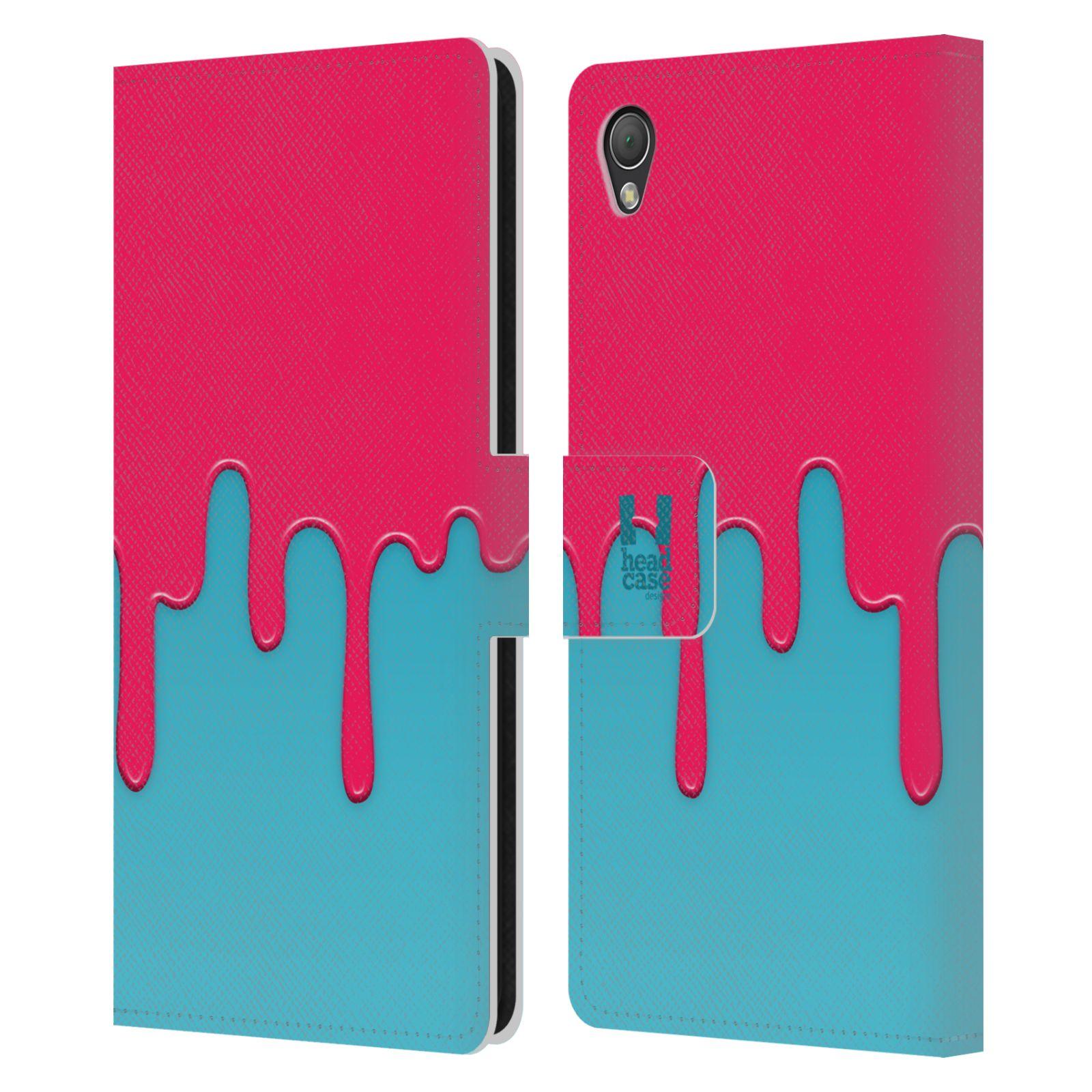 HEAD CASE Flipové pouzdro pro mobil SONY XPERIA Z3 Rozlitá barva růžová a modrá
