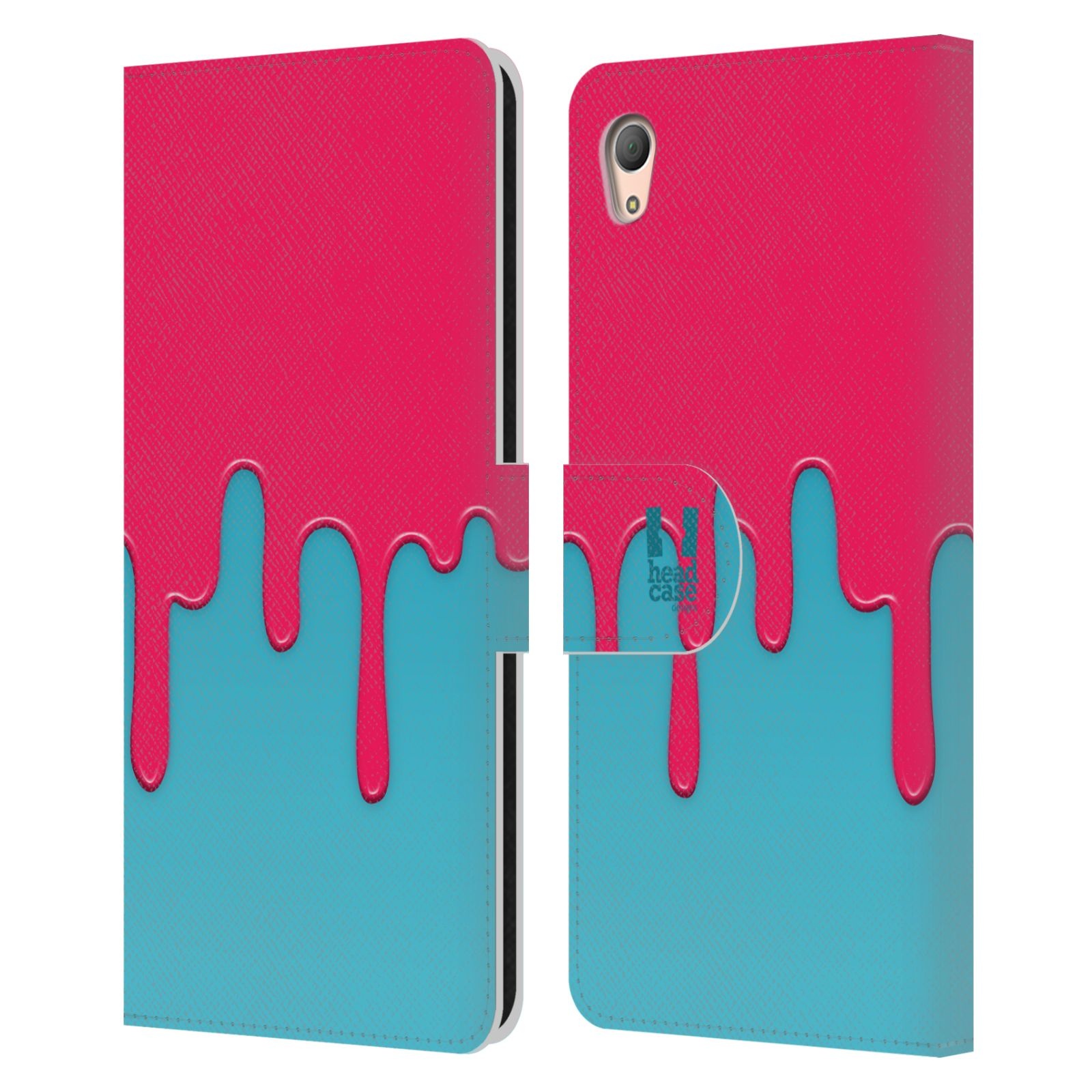 HEAD CASE Flipové pouzdro pro mobil SONY XPERIA Z3+ (PLUS) Rozlitá barva růžová a modrá