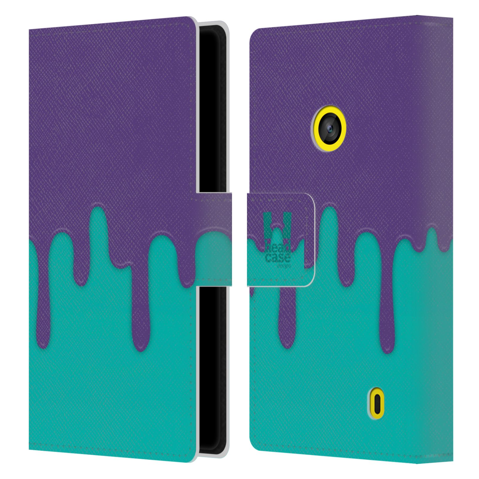 HEAD CASE Flipové pouzdro pro mobil NOKIA LUMIA 520 / 525 Rozlitá barva fialová a tyrkysová
