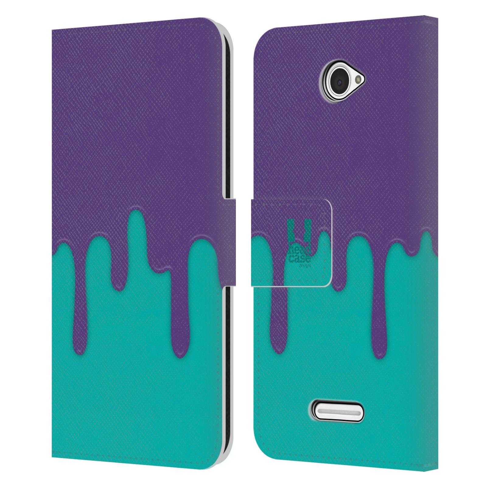 HEAD CASE Flipové pouzdro pro mobil SONY XPERIA E4 Rozlitá barva fialová a tyrkysová