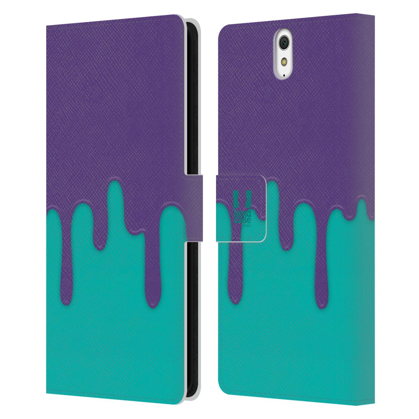 HEAD CASE Flipové pouzdro pro mobil SONY XPERIA C5 Ultra Rozlitá barva fialová a tyrkysová