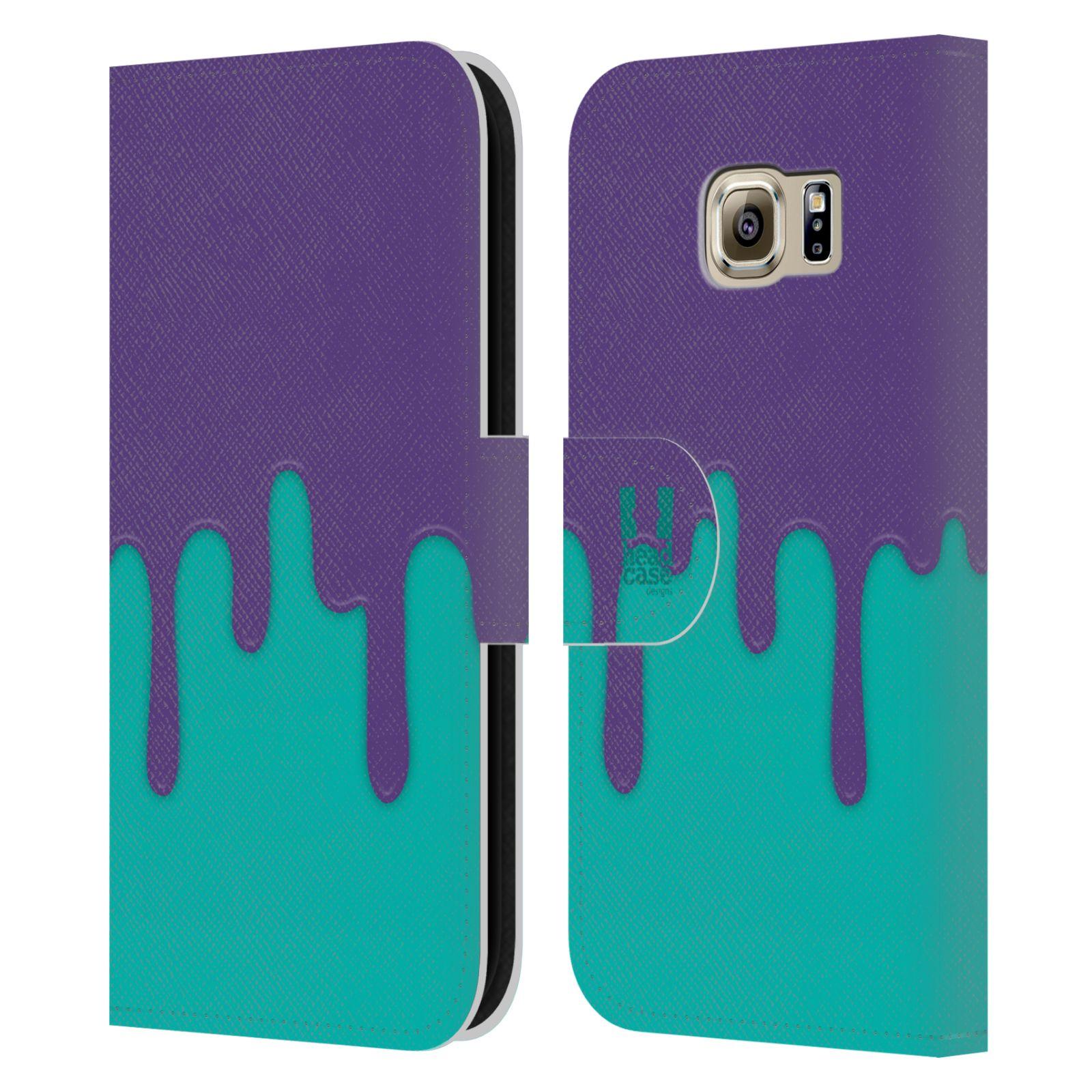 HEAD CASE Flipové pouzdro pro mobil Samsung Galaxy S6 (G9200) Rozlitá barva fialová a tyrkysová