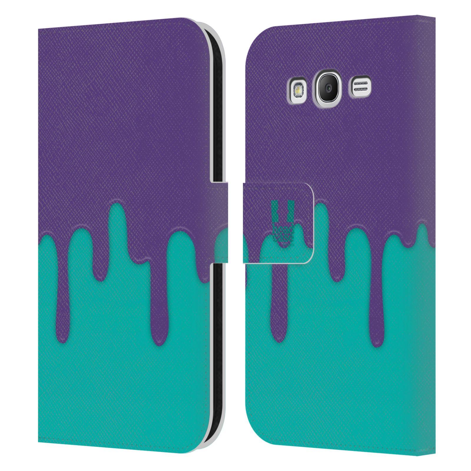 HEAD CASE Flipové pouzdro pro mobil Samsung Galaxy Grand i9080 Rozlitá barva fialová a tyrkysová
